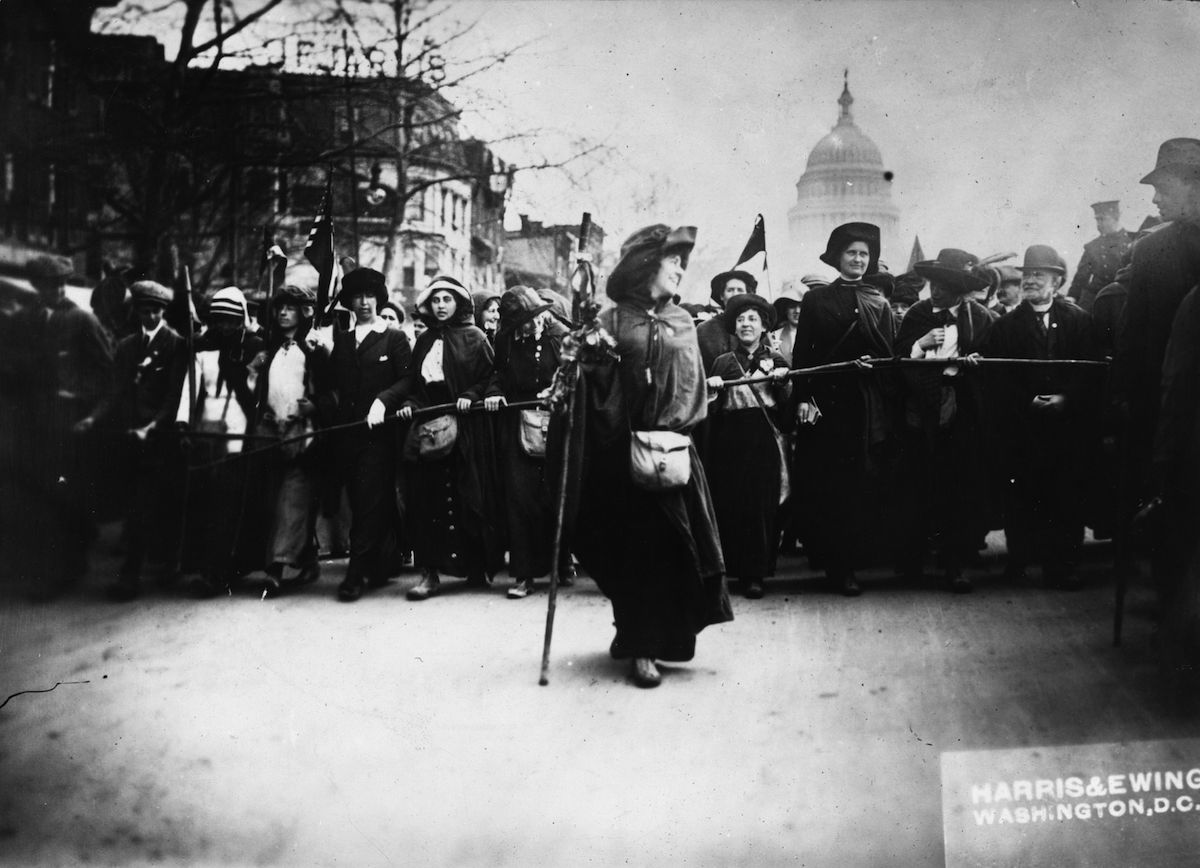 American suffragette Rosalie Jones leading a crowd of protesters up Pennsylvania Avenue, in Washington D.C., on Feb. 3, 1913, after a march from New York.