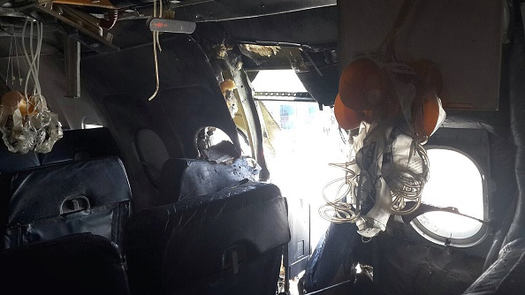 A view from inside the airliner after an explosion aboard on February 2, 2016.