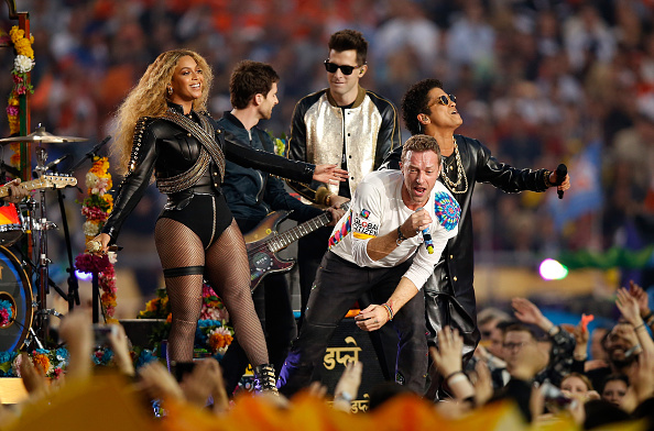 Beyonce, Guy Berryman of Coldplay, Chris Martin of Coldplay, Mark Ronson and Bruno Mars perform during the Pepsi Super Bowl 50 Halftime Show at Levi's Stadium on February 7, 2016 in Santa Clara, California.