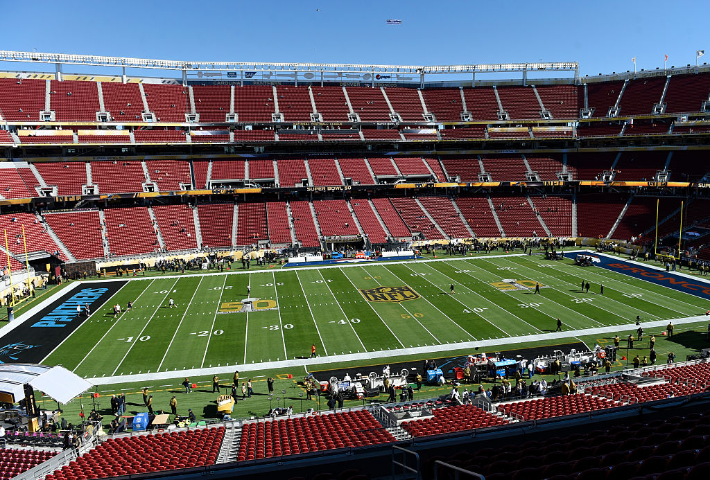 A general view of Levi's Stadium prior to the start of the game.  The Denver Broncos played the Carolina Panthers in Super Bowl 50 at Levi's Stadium in Santa Clara, California on Feb. 7, 2016.