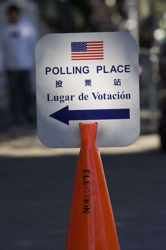 A sign directs voters in San Francisco on Super Tuesday—Feb. 5—in 2008.