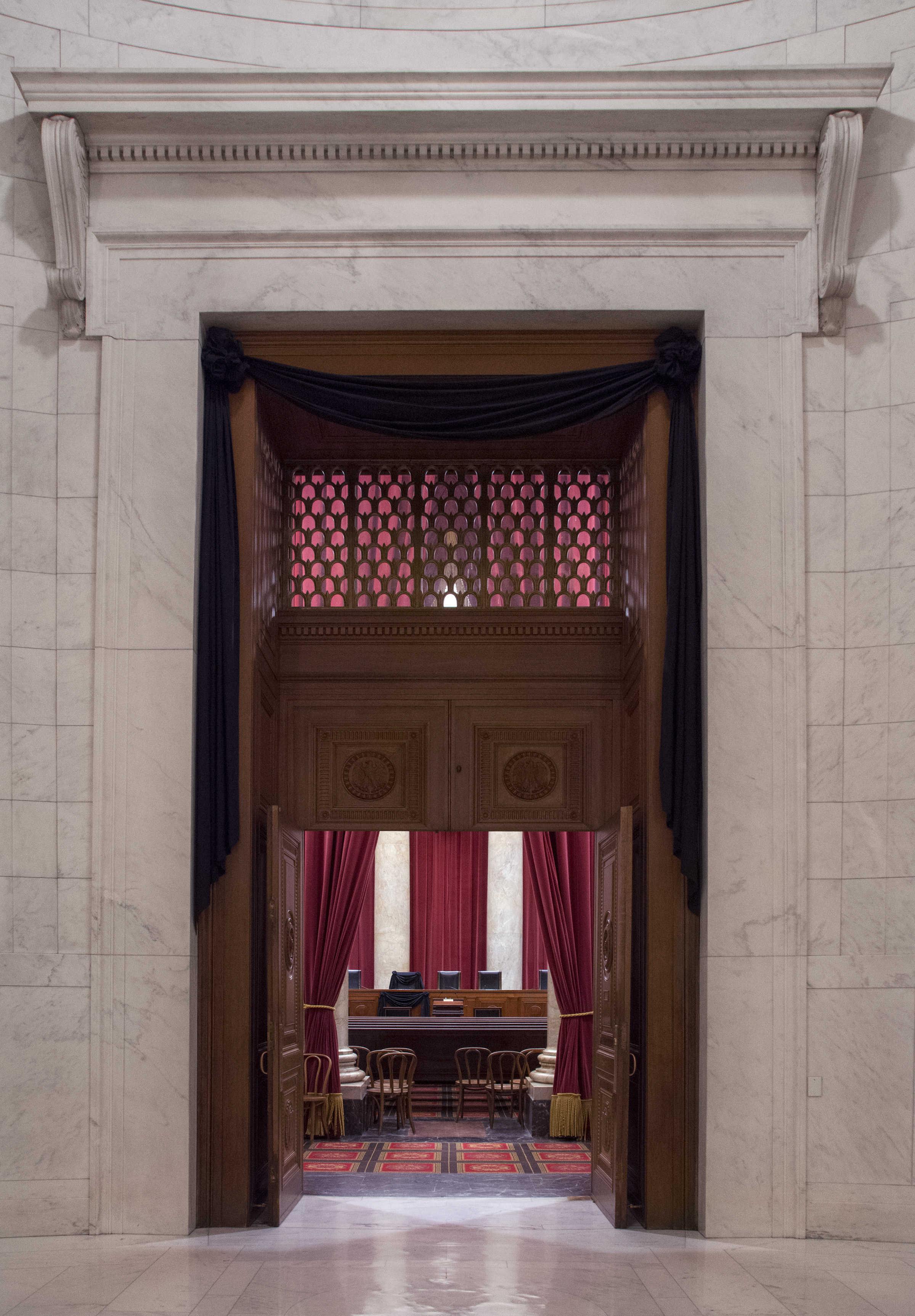 The doors of the Courtroom of the Supreme Court are draped in black following the Feb. 13 death of Associate Justice Antonin Scalia.