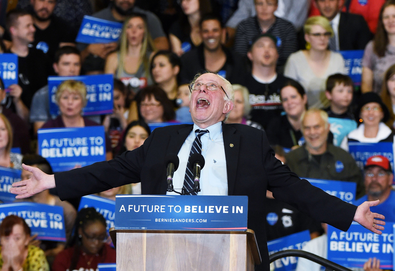 Democratic presidential candidate Sen. Bernie Sanders (I-VT) speaks during a campaign rally at Bonanza High School on Feb. 14, 2016 in Las Vegas.