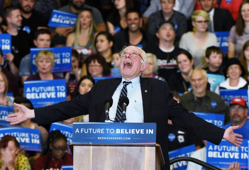 Democratic presidential candidate Sen. Bernie Sanders (I-VT) speaks during a campaign rally at Bonanza High School on Feb. 14, 2016 in Las Vegas.