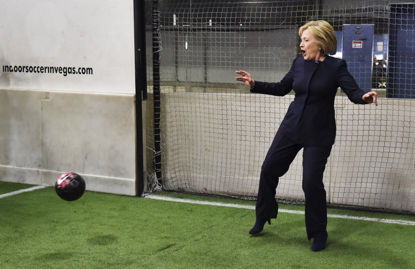 Democratic presidential candidate Hillary Clinton defends a goal during a campaign stop at an indoor soccer center in Las Vegas on Feb. 13, 2016.