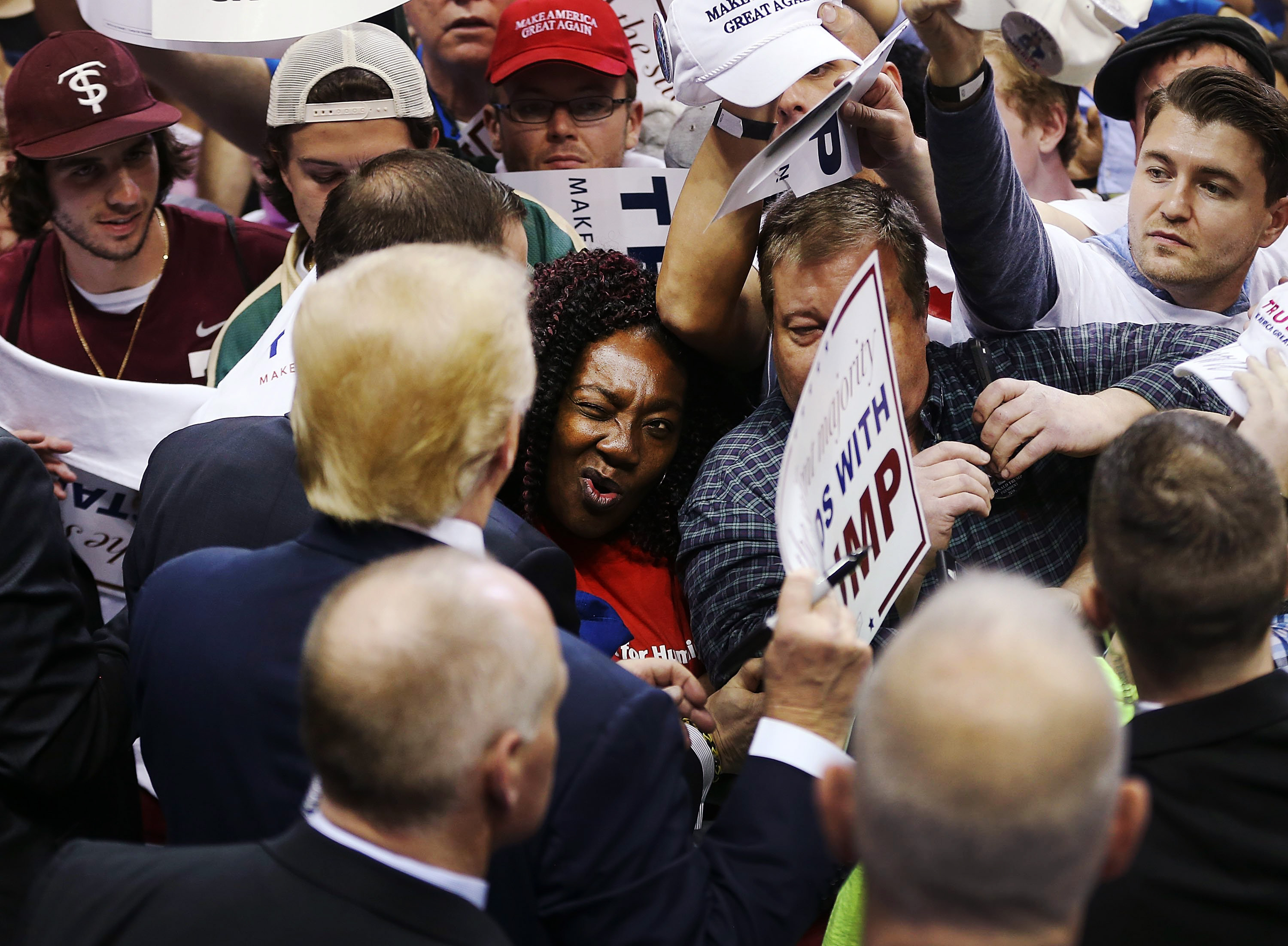Republican presidential candidate Donald Trump greets people during a campaign rally at the University of South Florida Sun Dome on Feb. 12, 2016 in Tampa, Fla.