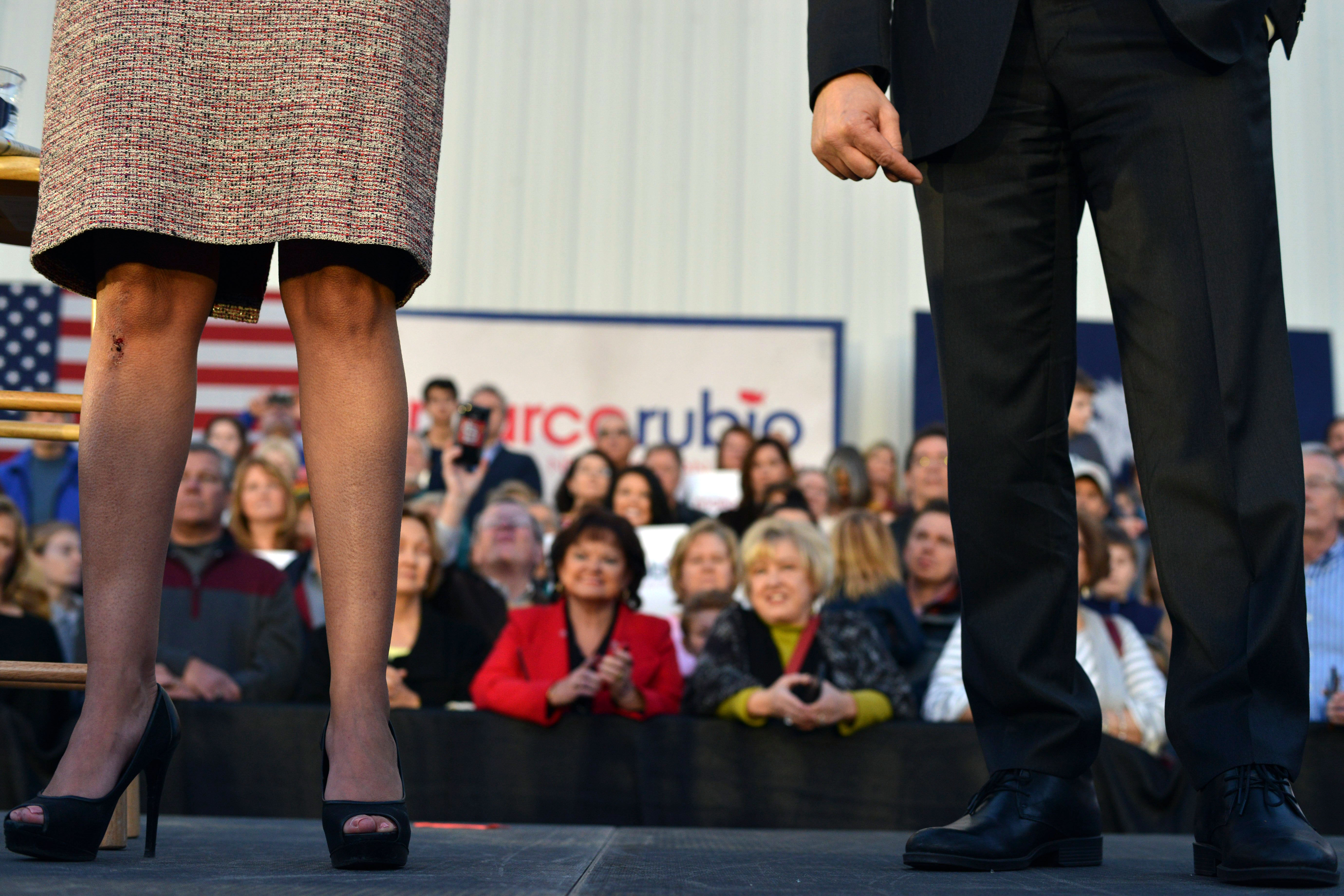 South Carolina Gov. Nikki Haley, left, formally endorses GOP presidential candidate Marco Rubio, right, at a rally in Chapin, S.C. on Feb. 17, 2016.