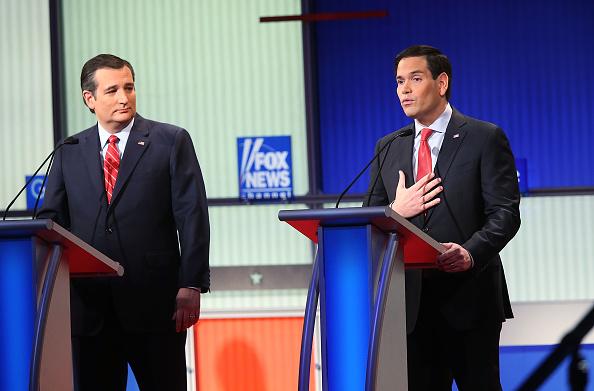 Republican presidential candidates (R-L) Sen. Marco Rubio (R-FL) and Sen. Ted Cruz (R-TX) participate in the Fox News - Google GOP Debate January 28, 2016 at the Iowa Events Center in Des Moines, Iowa.