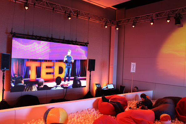 TED attendees watch a live-stream of the conference from bean-bag chairs in a pool filled with balls in Vancouver on Feb.16, 2016