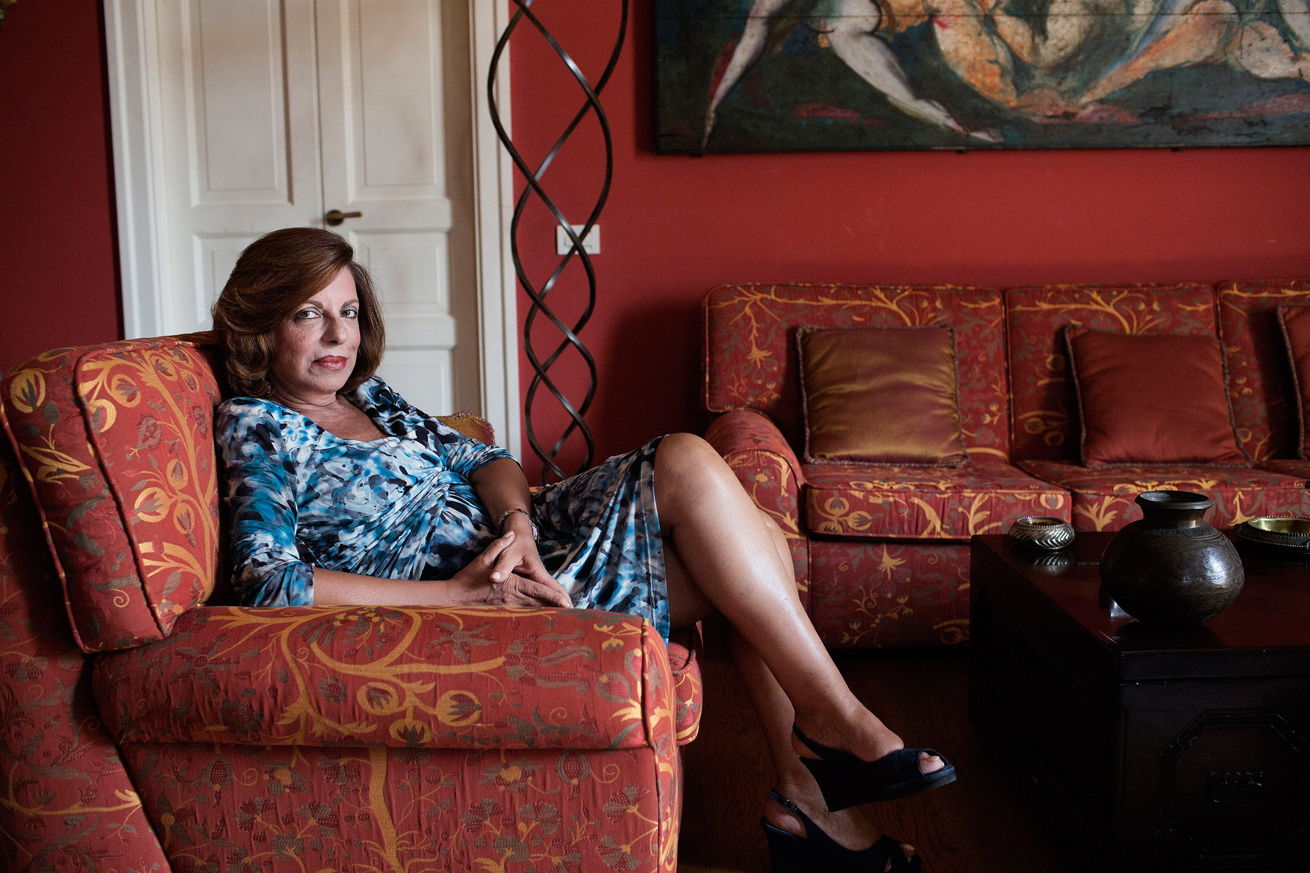 Teresa Maria Principato, known as the  iron prosecutor,  sits on the sofa in her living room in Palermo, Italy, July 14, 2014.