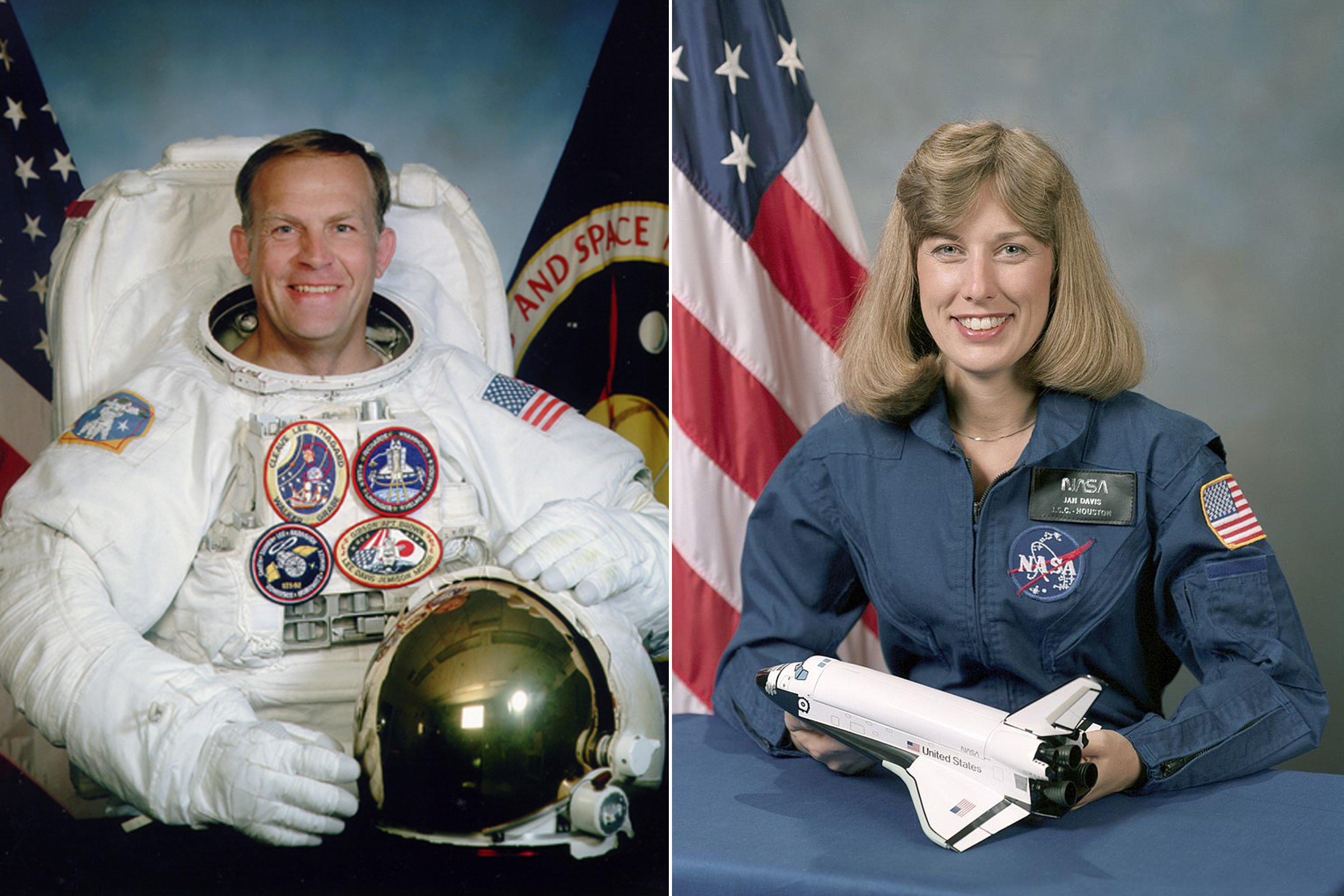 Mark Lee and Jan Davis were the first (and so far only) married couple to fly together in space. They flew aboard Space Shuttle Endeavour (STS-47) in 1992.  Lee and Davis had met during training for the flight and were secretly married shortly before liftoff. Once they disclosed their marriage to NASA, it was too late to train a substitute. NASA has since changed its policies to forbid married couples from flying together