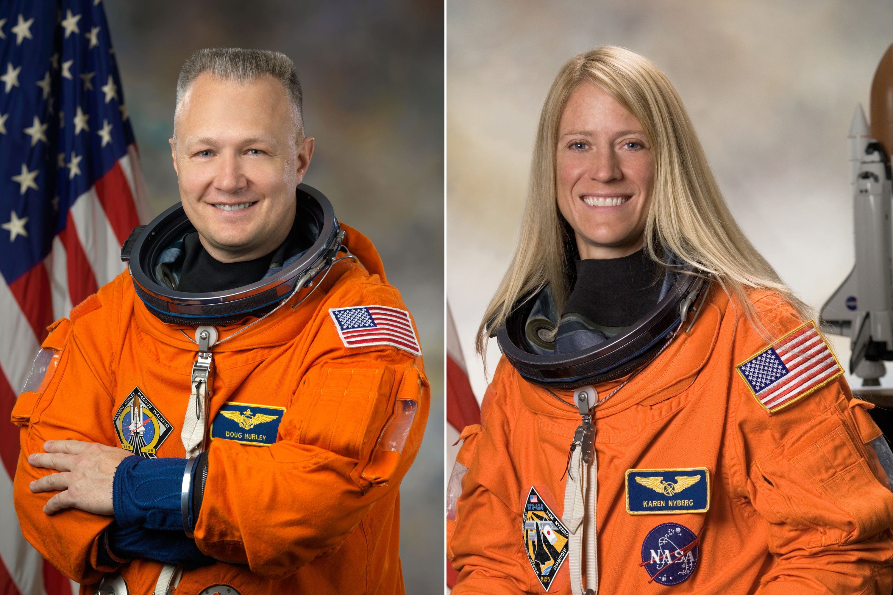Doug Hurley and Karen Nyberg met in the same NASA astronaut class of 2000. They married years later and have a four-year-old son. Between them they have flown four times, two flown by Hurley and two flown by Nyberg.