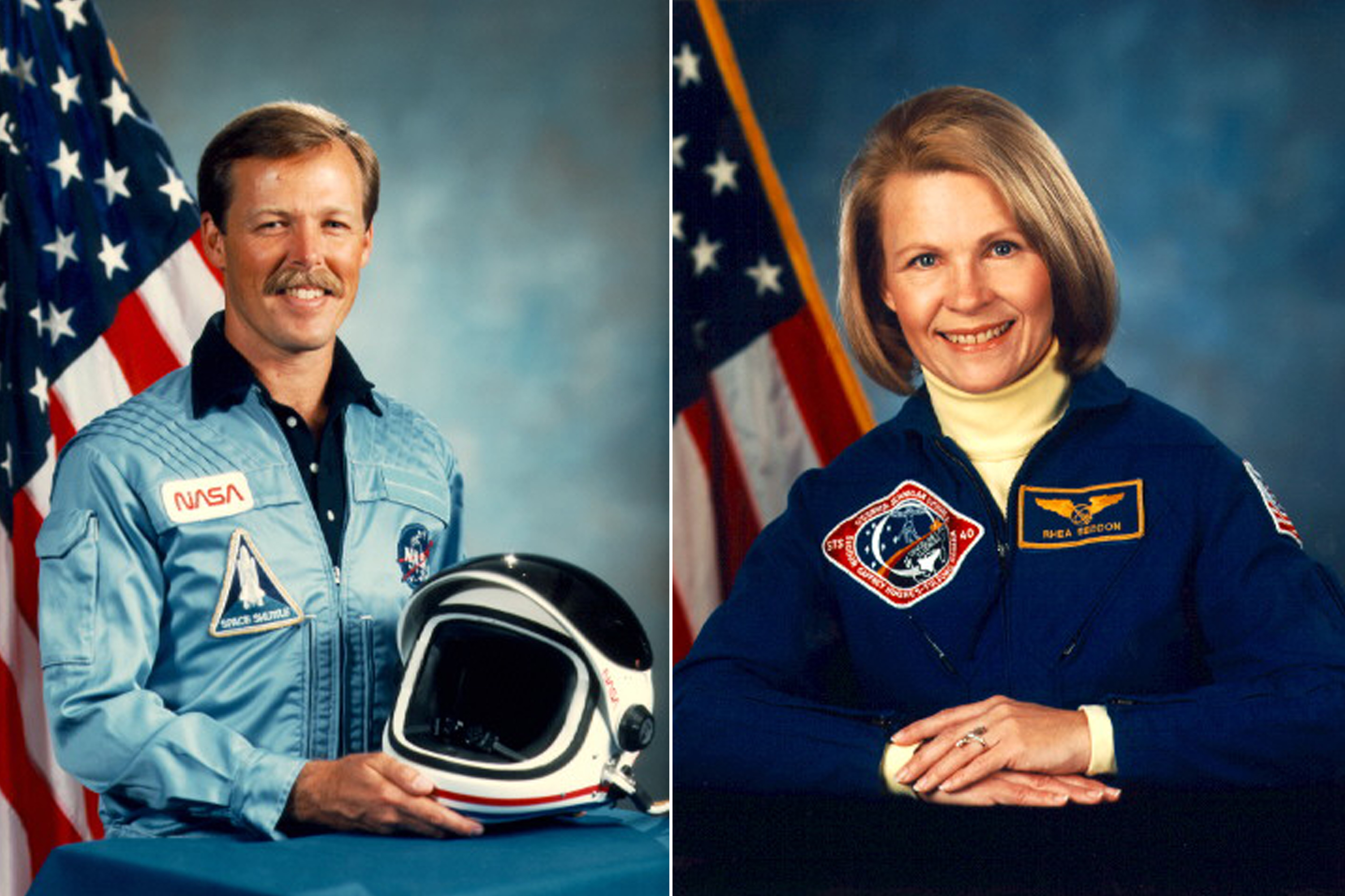 Robert  Hoot  Gibson and Rhea Seddon were married on May 30, 1981.  They are still married today with three children, Paul, Dann, and Emilee.  Between them they have flown eight times, five flown by Gibson and three by Seddon.