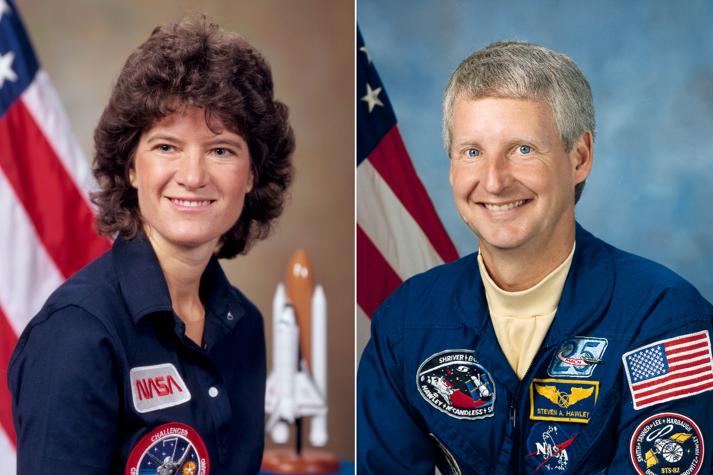 Sally Ride and Steven Hawley were married for five years from 1982 until 1987. Ride was the first American woman in space, flying on the shuttle Challenger in June, 1983.  Ride later spent 27 years with Tam O'Shaughnessy, a science writer and co-founder of the science education company Sally Ride Science.  Though they never married, they remained partners until Ride's passing in 2012.