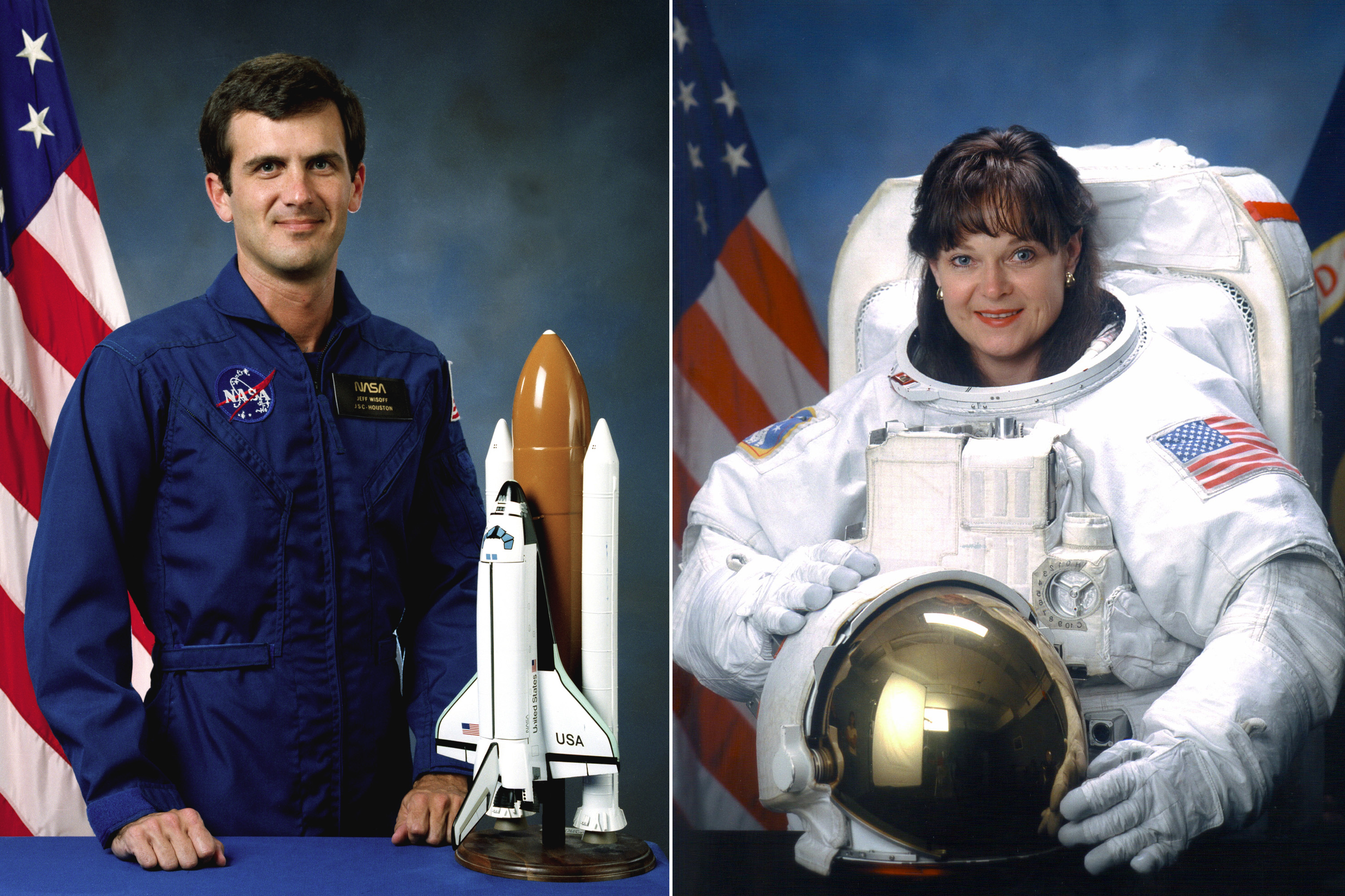 Peter Wisoff and Tammy Jernigan were married in 1999.  Wisoff is a veteran of 4 space flights, including the STS-57 Endeavour mission in 1993.  Jernigan is a veteran of 5 space flights, including the STS-96 Discovery mission in 1999, during which the crew performed the first docking with the International Space Station.