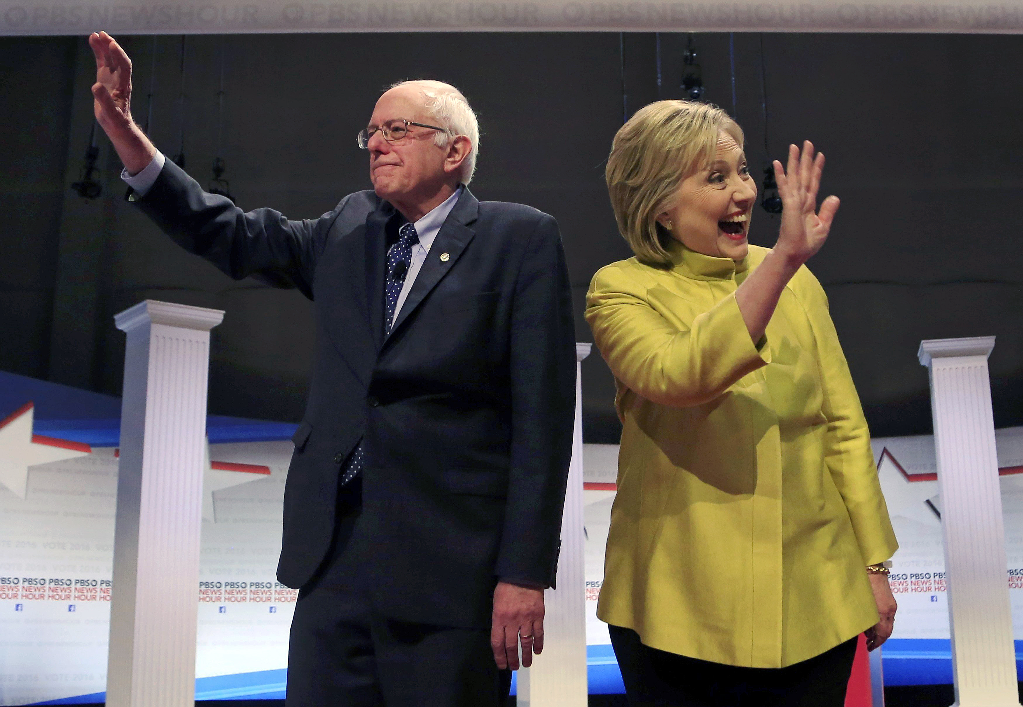 Democratic. presidential candidates Senator Bernie Sanders and former Secretary of State Hillary Clinton on stage at a debate in Milwaukee on Feb. 11, 2016.