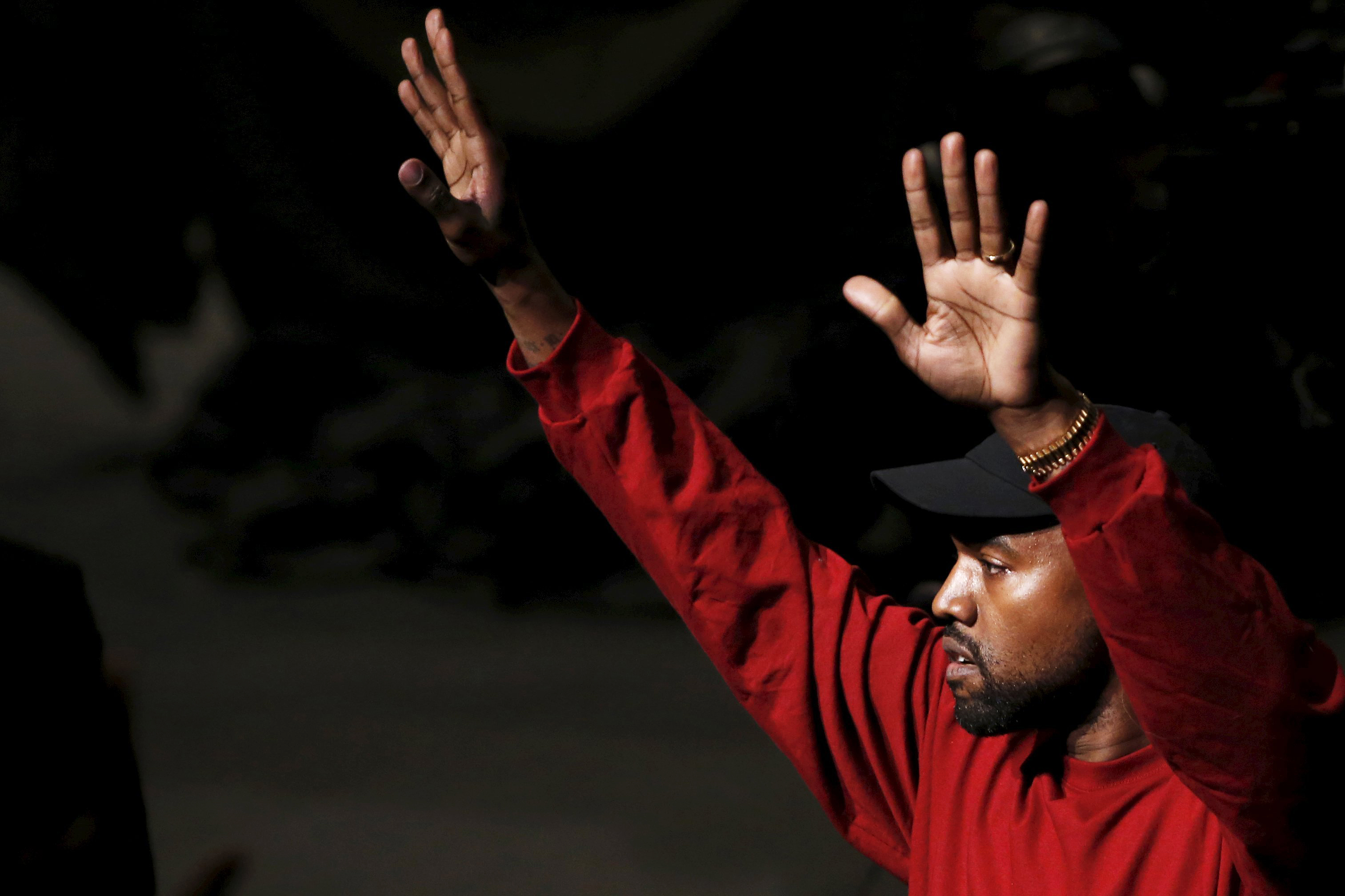 Kanye West acknowledges attendees during his Yeezy Season 3 Collection presentation and listening party at New York Fashion Week on Feb. 11, 2016.