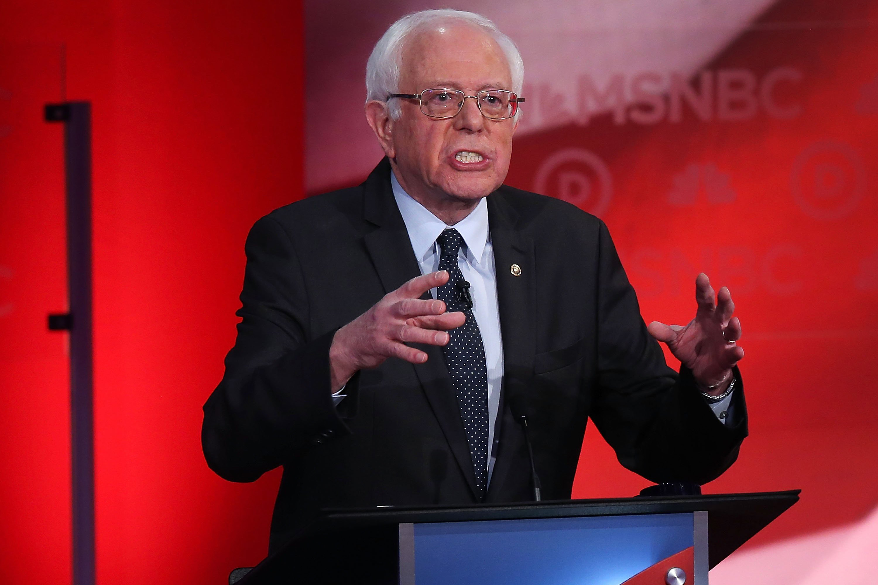 Democratic presidential candidate U.S. Sen. Bernie Sanders (I-VT) speaks during  a Democratic debate with former Secretary of State Hillary Clinton at the University of New Hampshire on Feb. 4, 2016 in Durham, N.H.