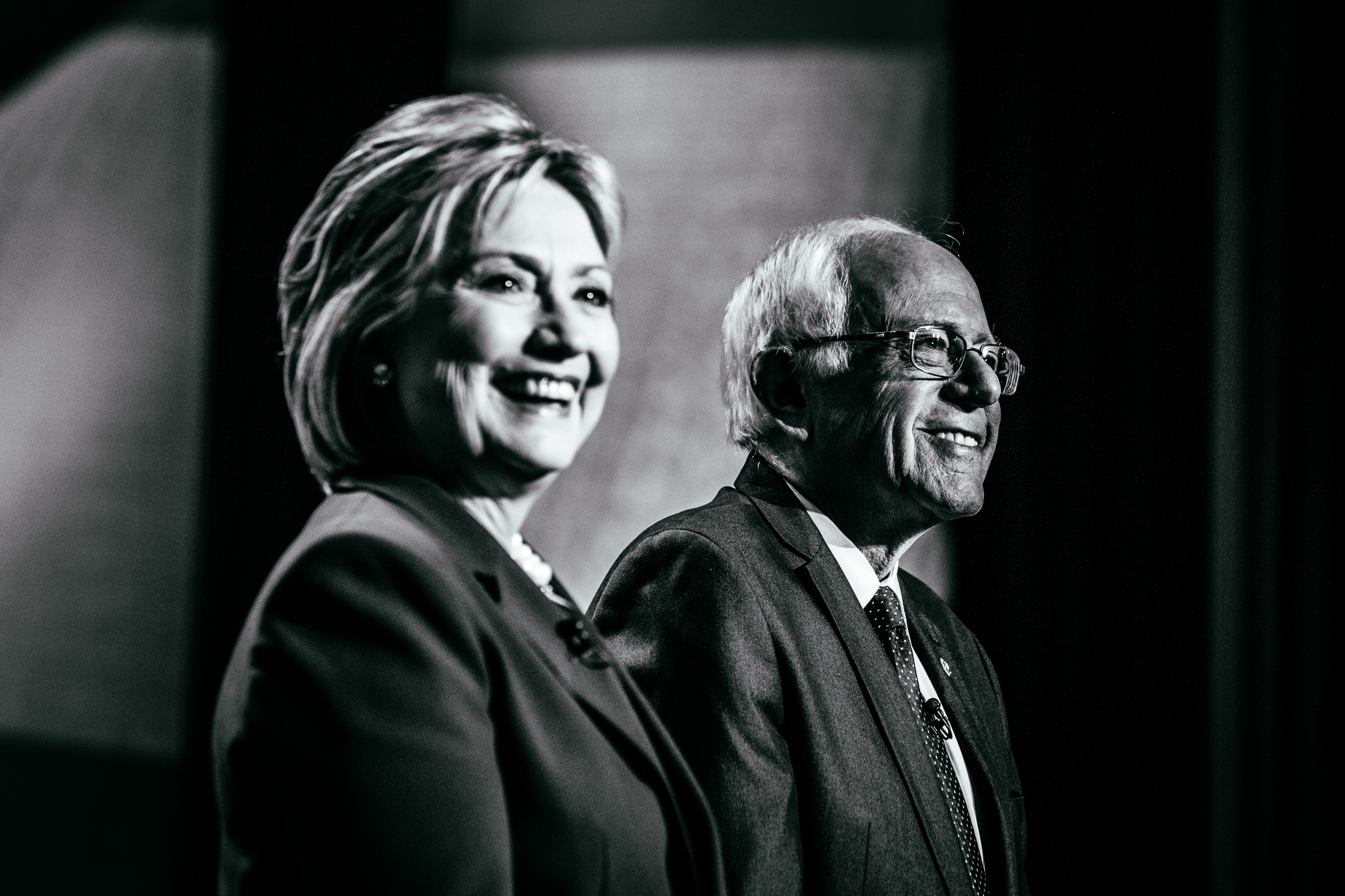 Democratic presidential candidates former Secretary of State Hillary Clinton and U.S. Sen. Bernie Sanders (I-VT) appear at a Democratic debate at the University of New Hampshire on Feb. 4, 2016 in Durham, N.H.