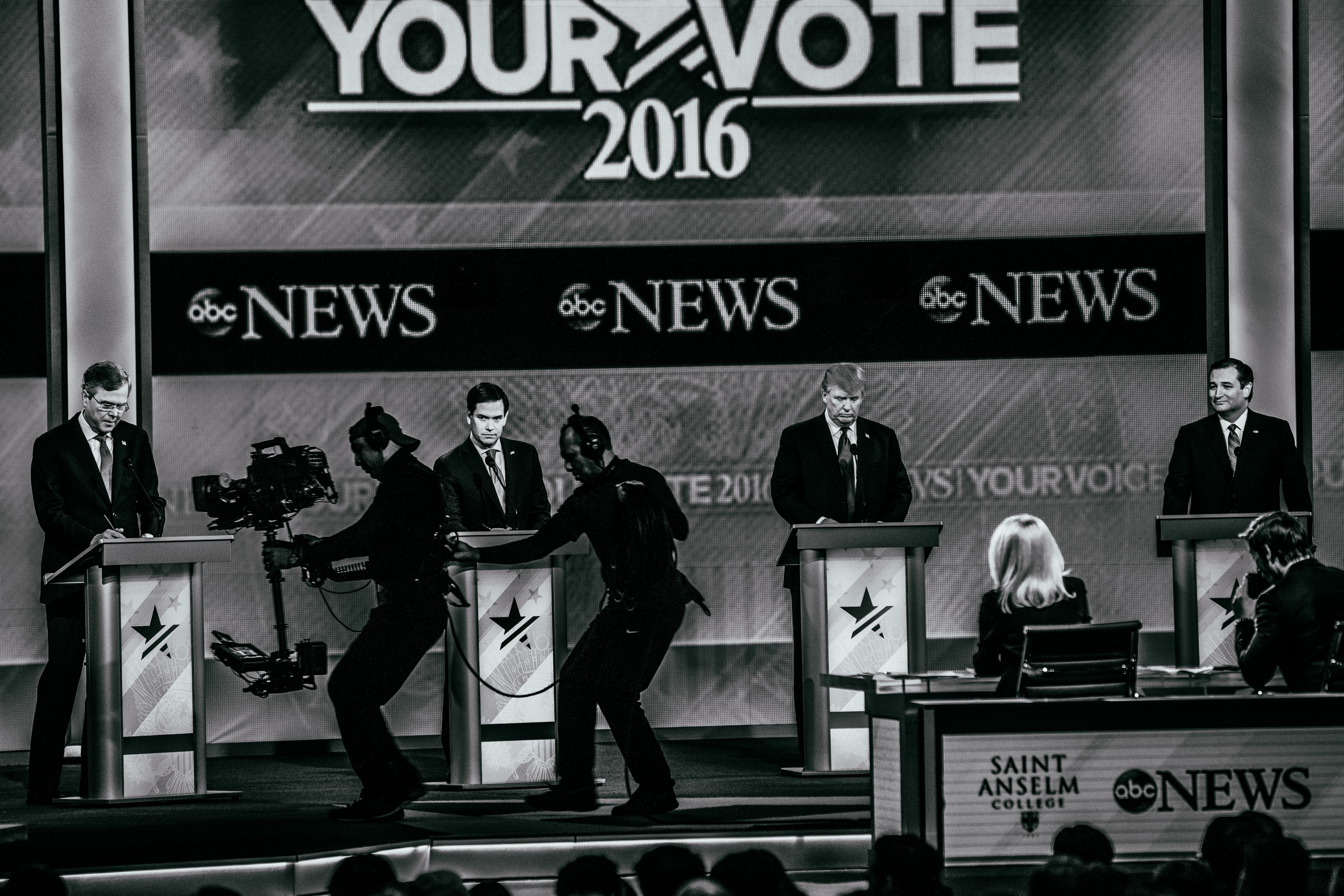Republican presidential candidates, from left, Jeb Bush, Marco Rubio, Donald Trump and Ted Cruz appear during the Republican presidential debate on Feb. 6, 2016, in Manchester, N.H.