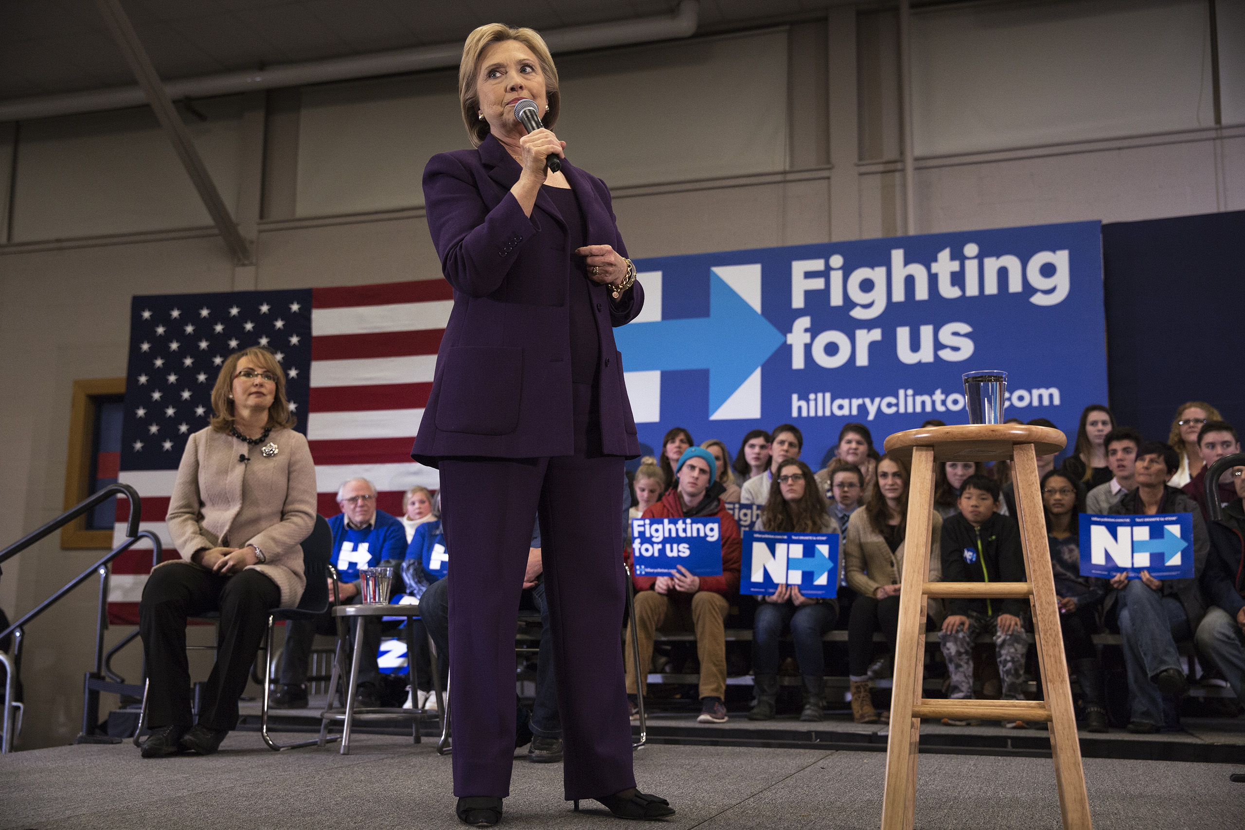 Democratic Presidential candidate Hillary Clinton campaigns with Gabby Giffords and Mark Kelly at Winnacunnet High School in Hampton, N.H. Feb. 2, 2016.