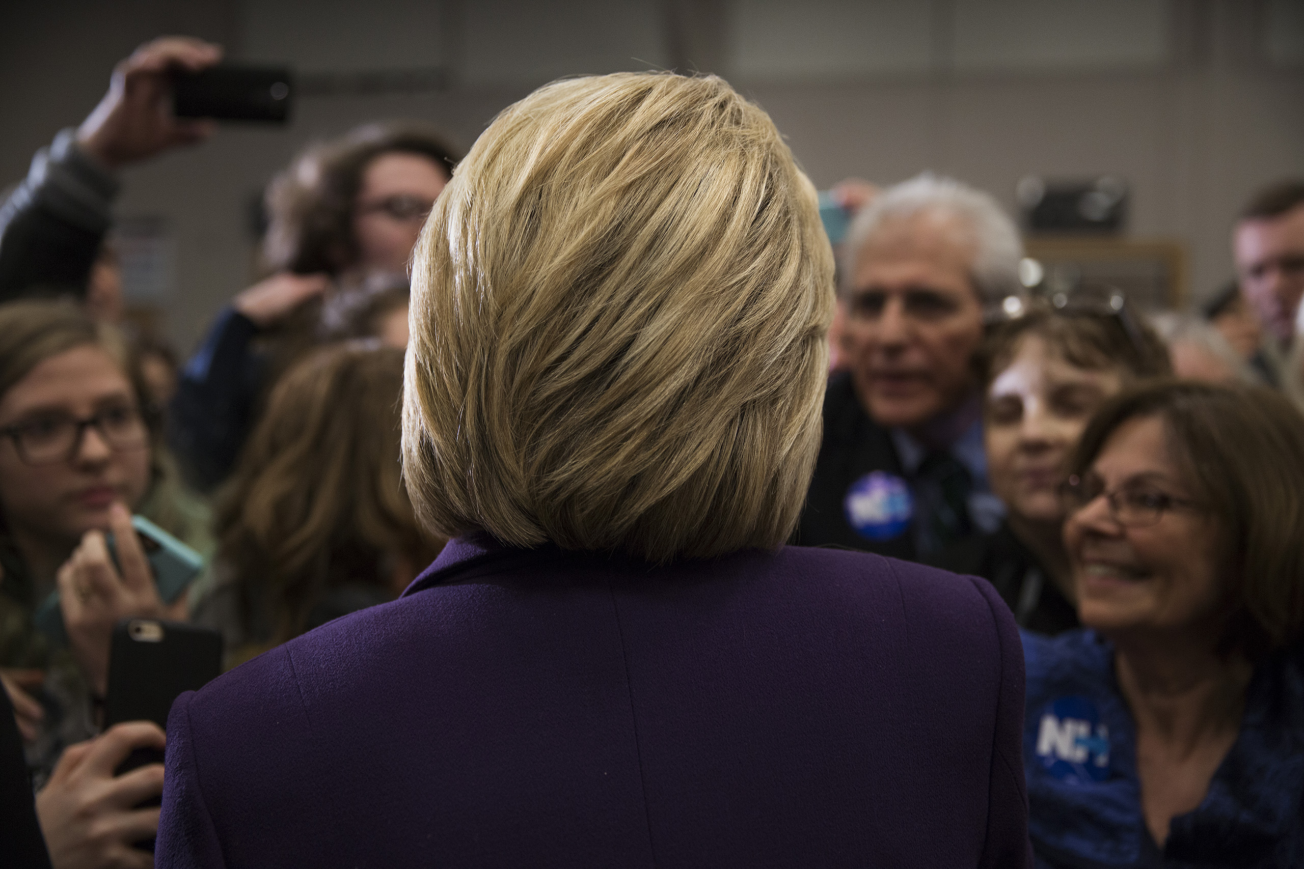 Democratic Presidential candidate Hillary Clinton talks to supporters while campaigning at Winnacunnet High School in Hampton, N.H. Feb. 2, 2016.