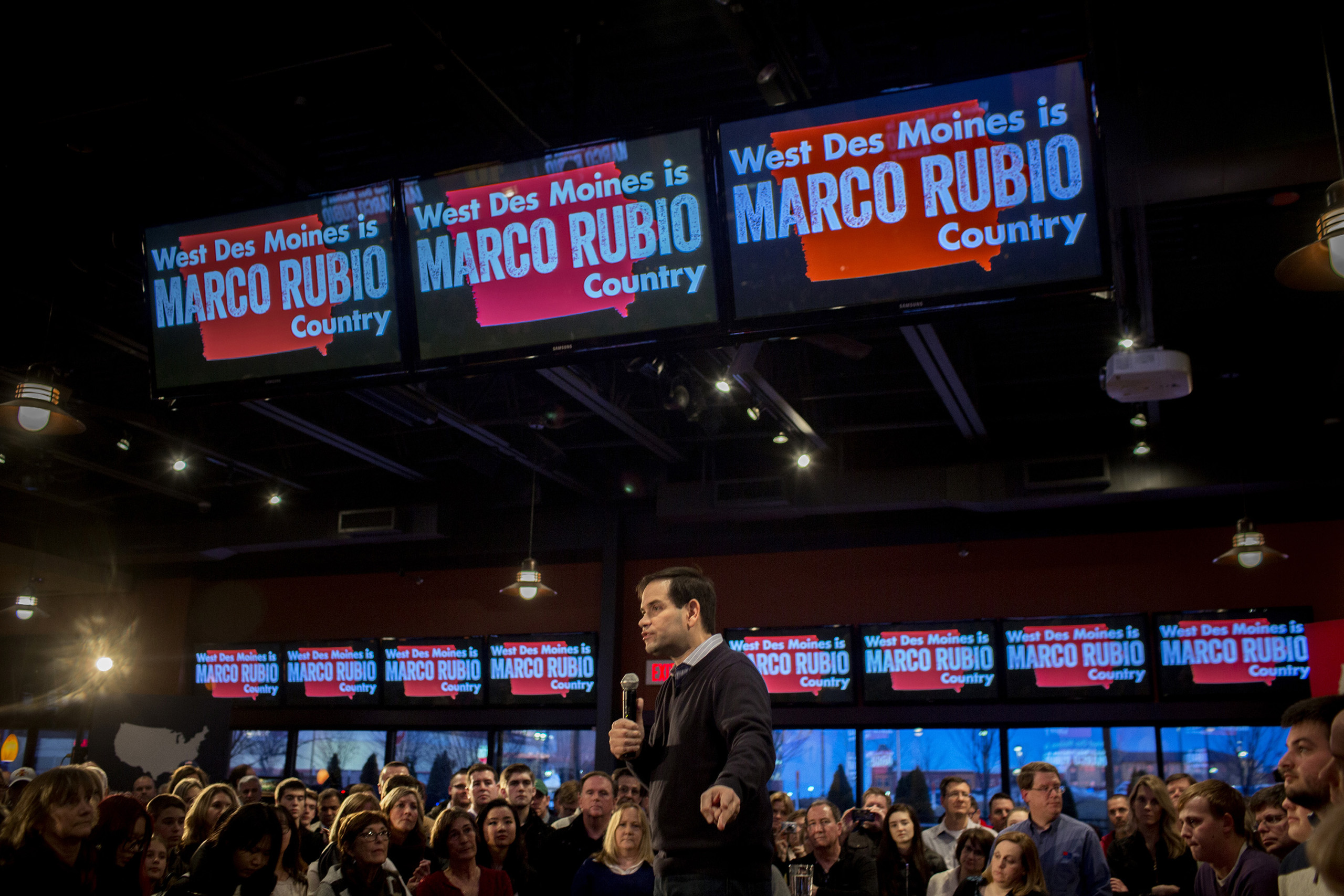 Marco Rubio spoke to supporters at a campaign rally at the Wellman's Pub and Rooftop in Des Moines Iowa on Wednesday evening, January 27th 2016.                                           (Natalie Keyssar for TIME)