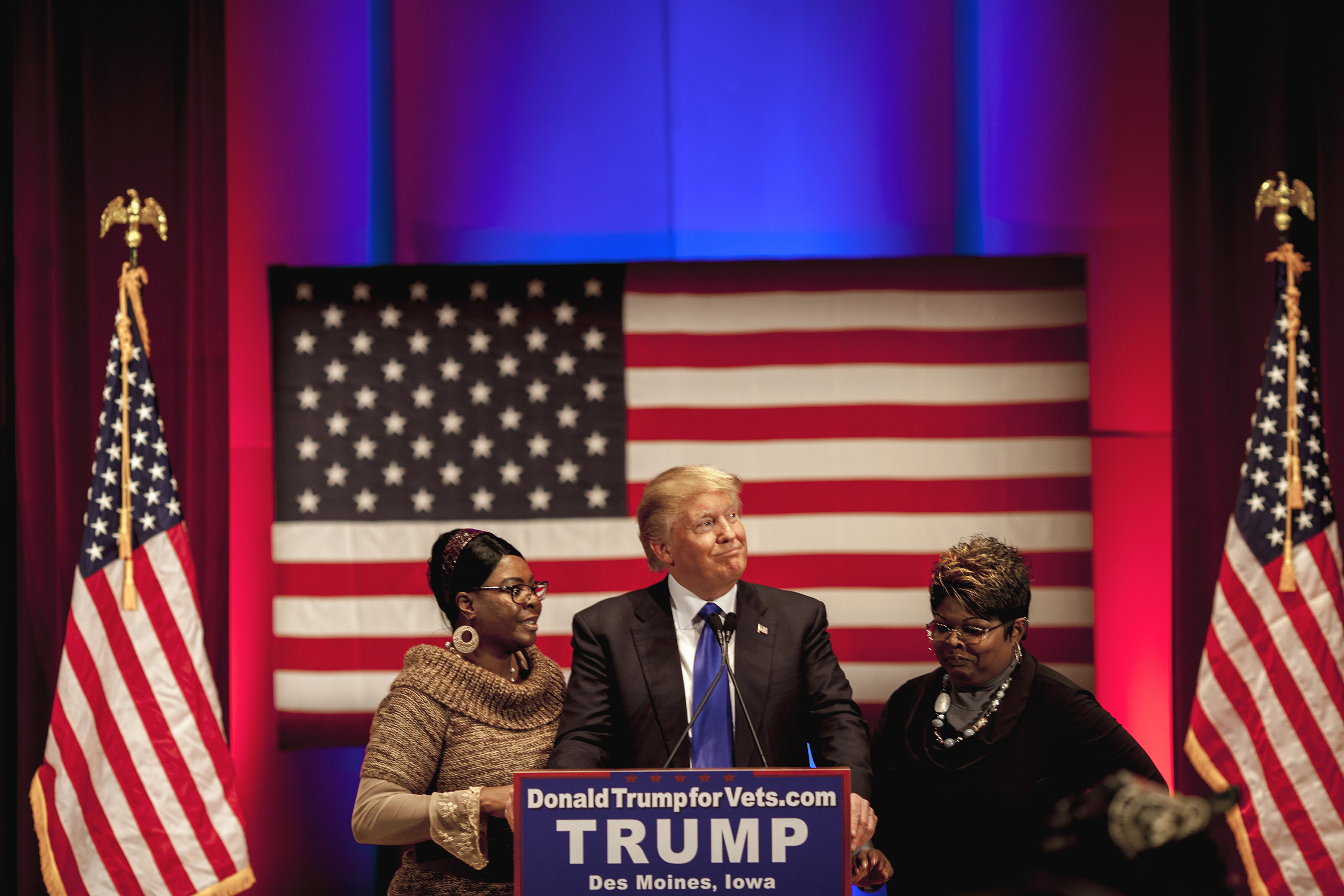 Donald Trump appears with supporters Diamond and Silk at benefit and rally for Wounded Warriors, a charity organization for Veterans,  at Drake University in Des Moines, Iowa, on Thursday, Jan. 28, 2016. The event was timed to coincide with the Republican debates on Fox which he declined to attend.