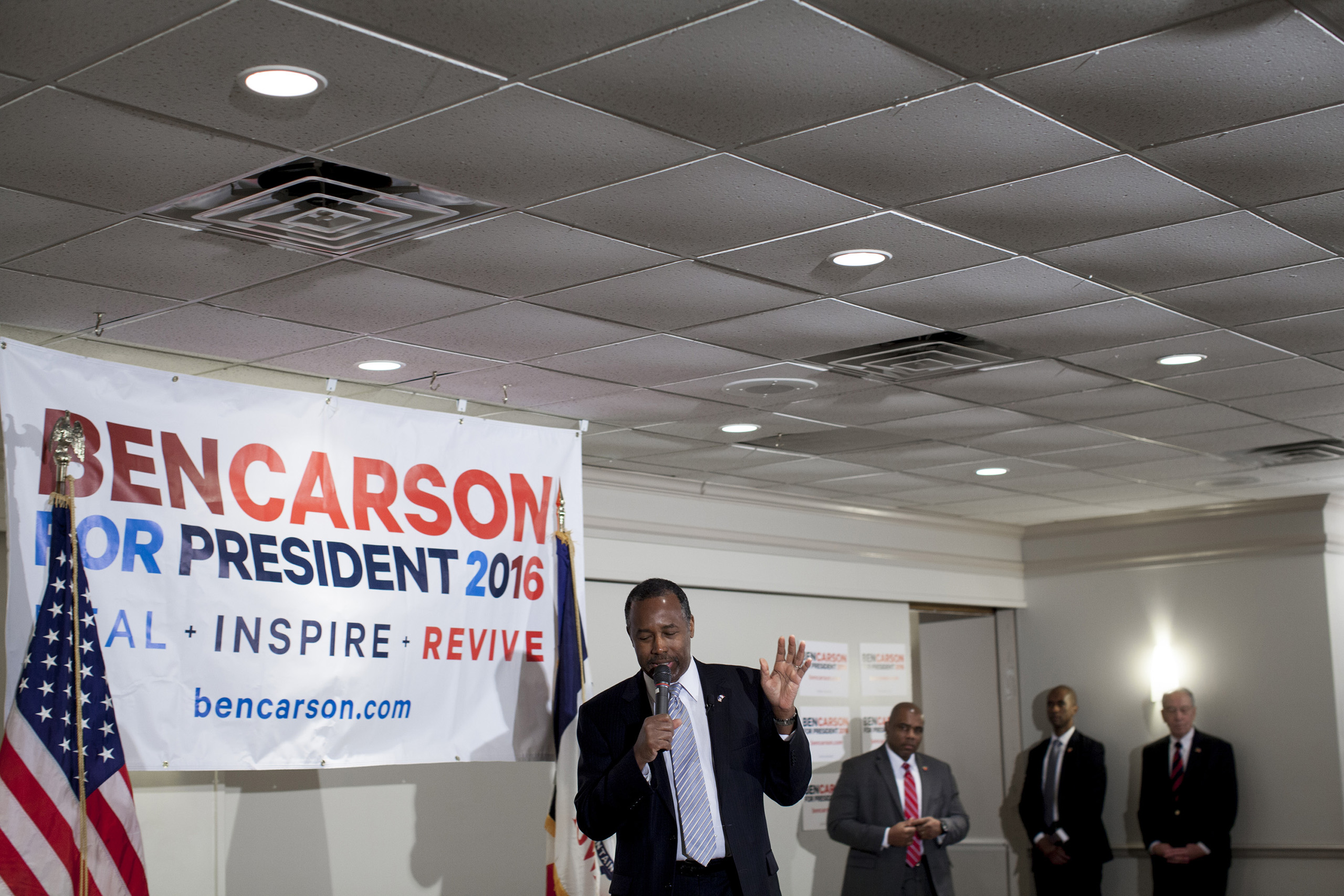 Ben Carson spoke to supporters this afternoon at The University Club in Iowa City on January 29th.