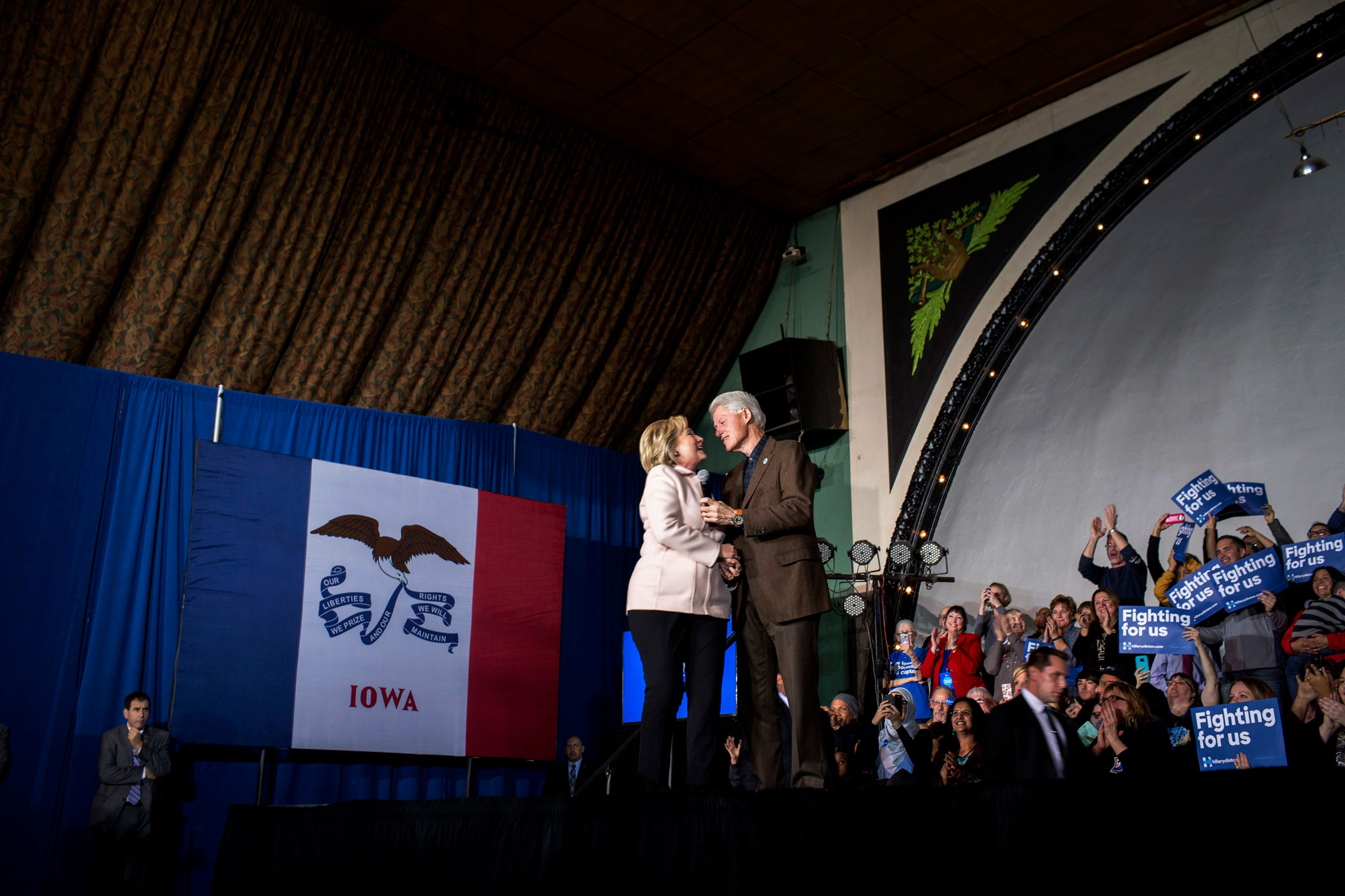 Hillary Clinton campaigns with Bill Clinton in Davenport, Iowa, on Jan. 29, 2016.