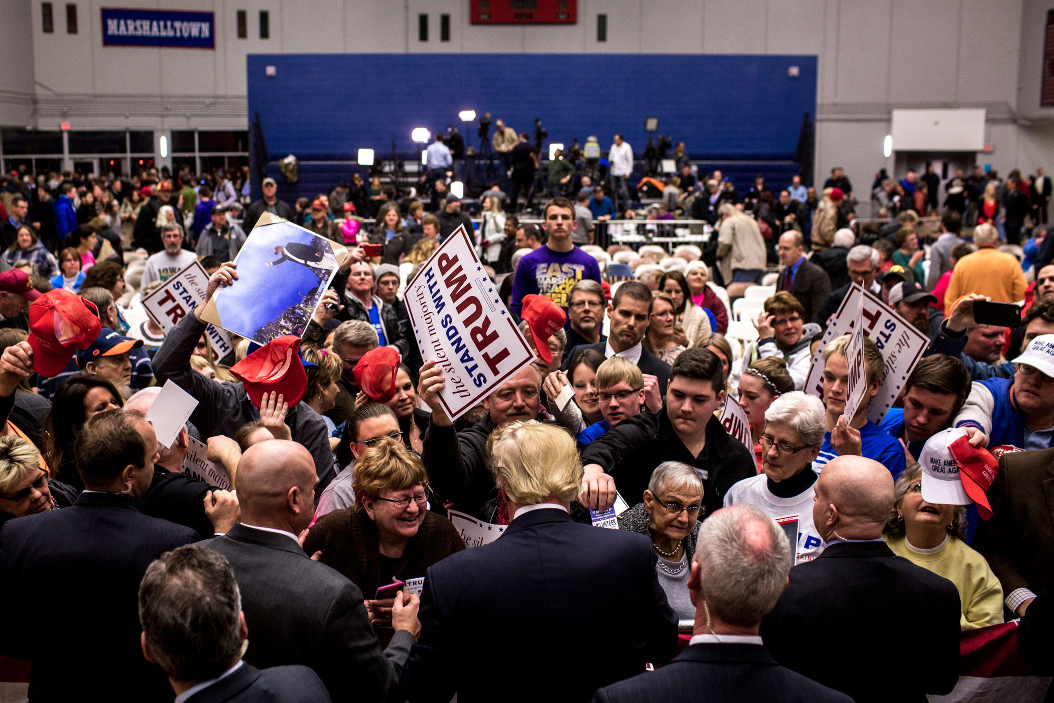 Donald Trump greets supporters at a rally in Des Moines, Iowa, on Jan. 26, 2016.