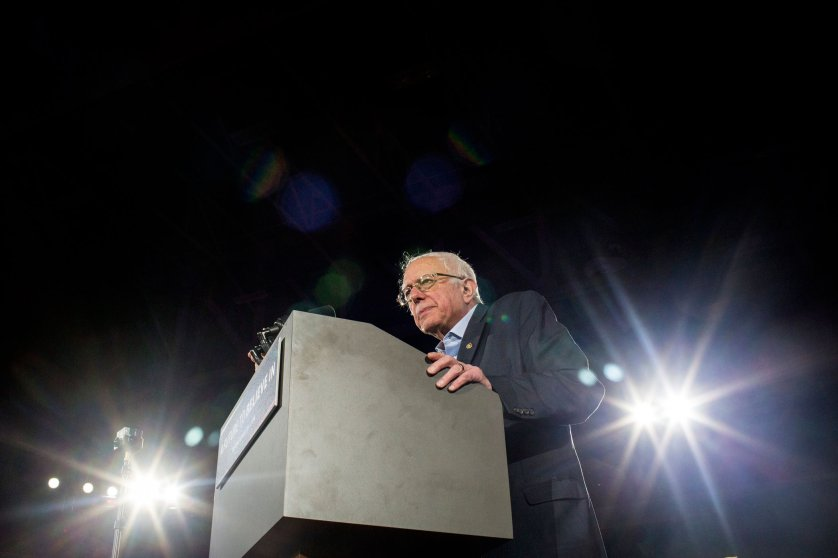 Bernie Sanders speaks during a campaign rally and concert in Iowa City, Iowa on Jan. 30, 2016.