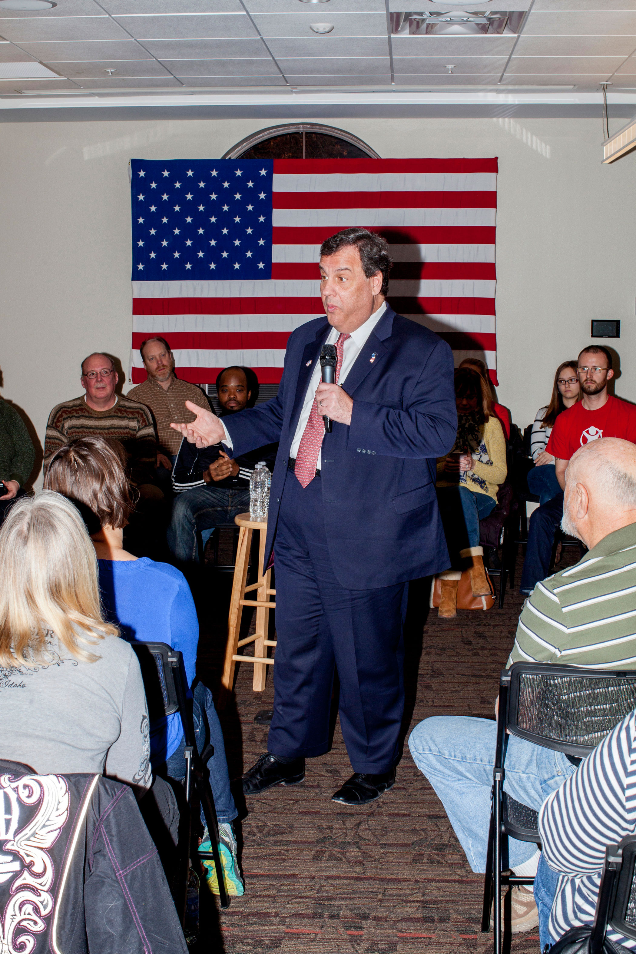New Jersey Gov. Chris Christie speaks to supporters at a campaign town hall in Pella, Iowa, on Jan. 29.