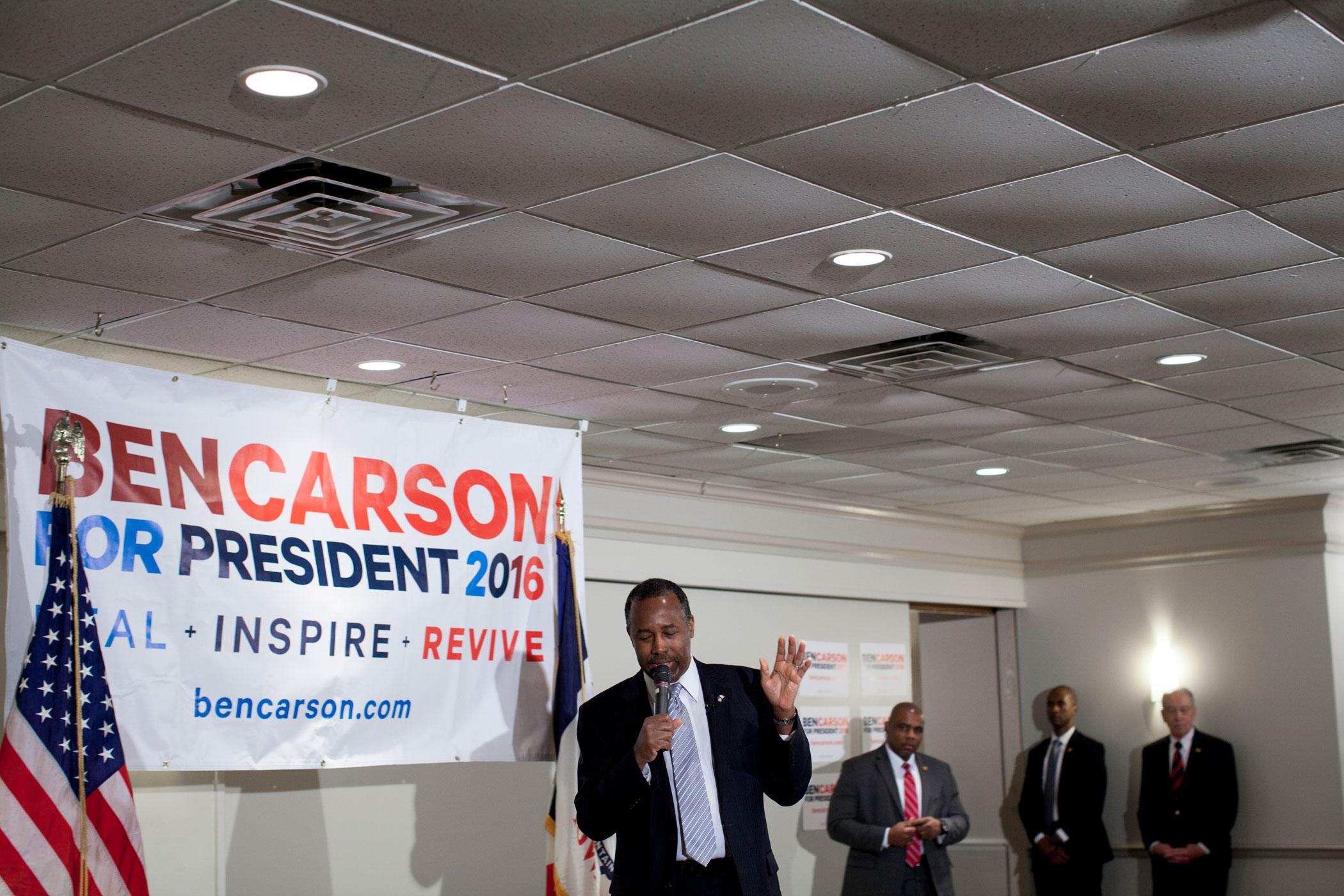 Ben Carson speaks to supporters in Iowa City, Iowa, on Jan. 29.