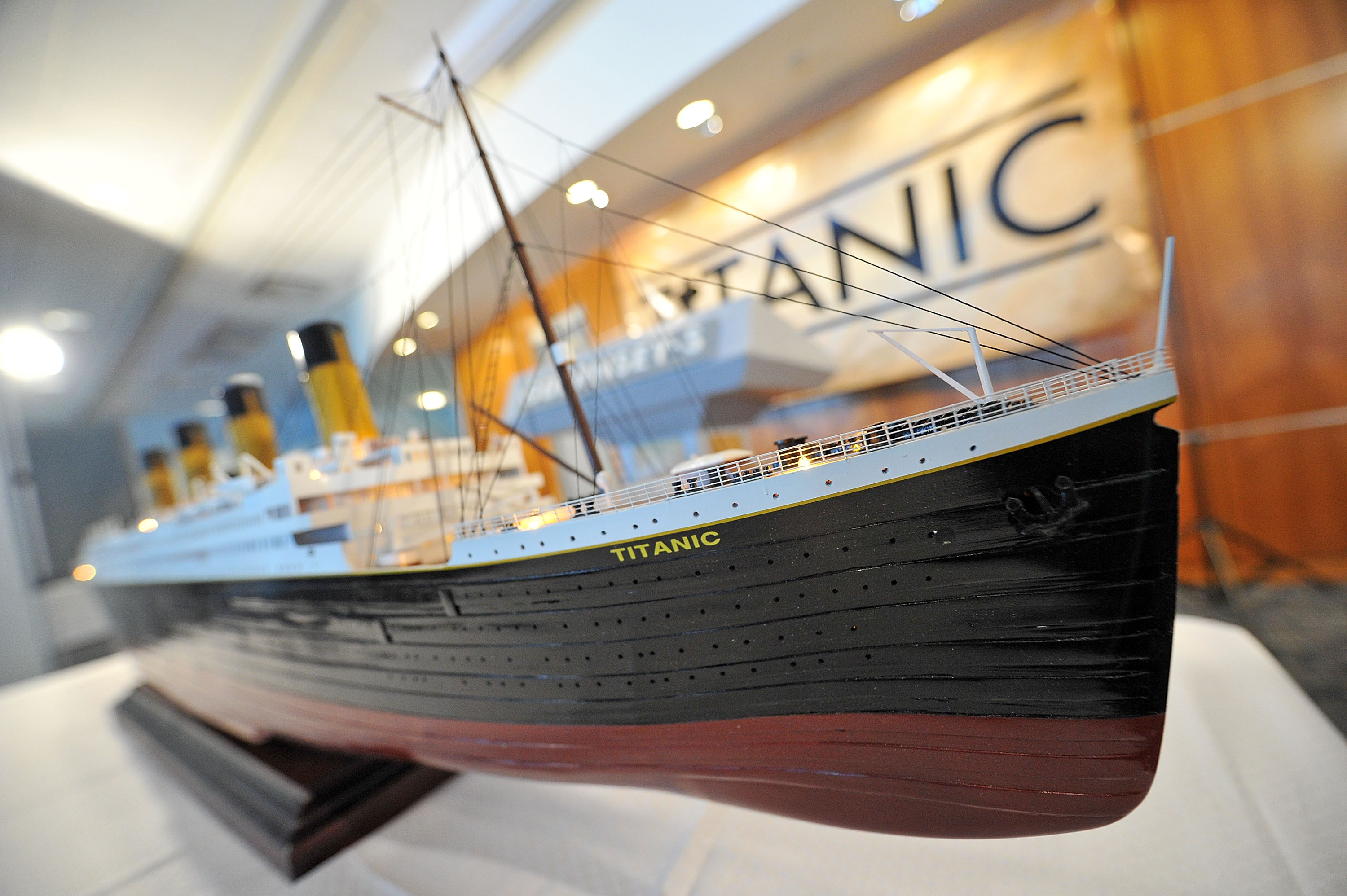 A scale model of the RMS Titanic on display at the Titanic Auction preview at the Intrepid Sea-Air-Space Museum on January 5, 2012 in New York City.
