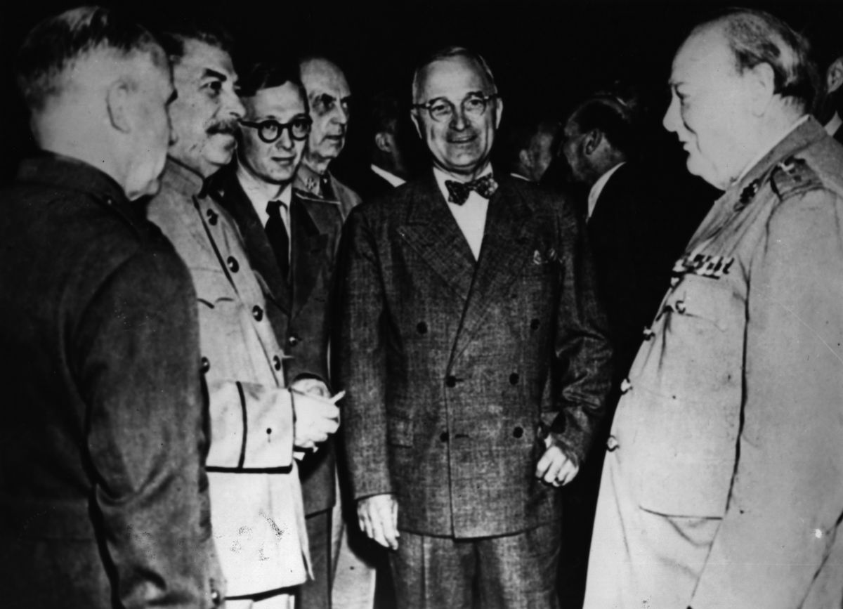 The American statesman and 33rd President Harry S. Truman (1884 - 1972) meets with Joseph Stalin (1879 - 1953) the Soviet leader and Winston Leonard Spencer Churchill (1874 - 1965) at the Potsdam Conference, circa 1945.