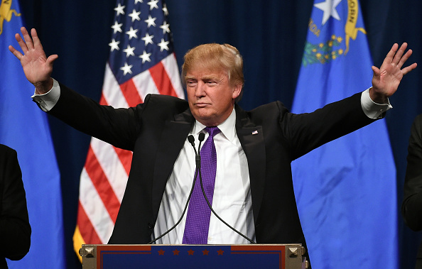 Republican presidential candidate Donald Trump speaks at a caucus night watch party at the Treasure Island Hotel Casino in Las Vegas on Feb. 23, 2016.