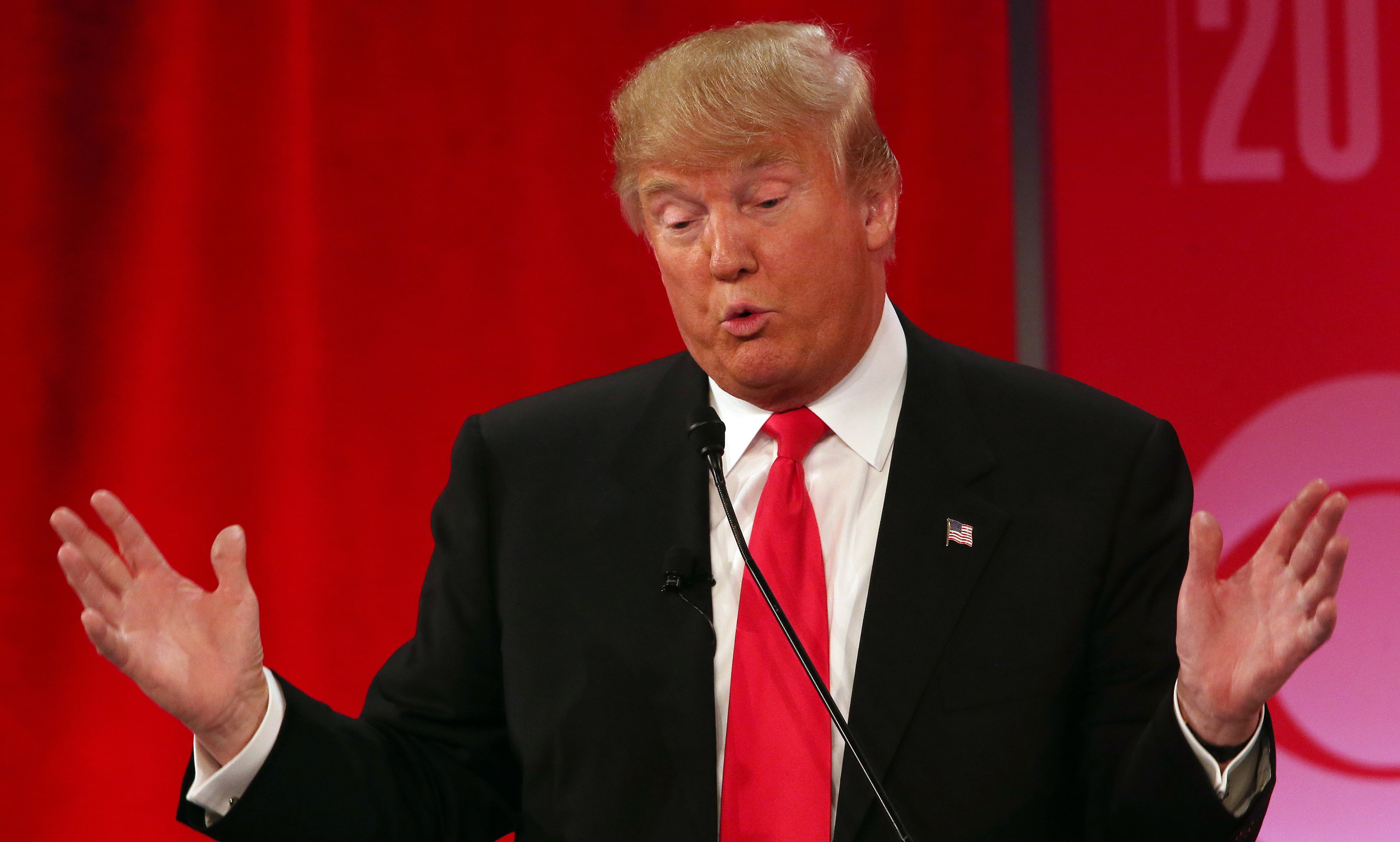 Republican presidential candidate Donald Trump speaks during the CBS News Republican presidential debate at the Peace Center, Feb. 13, 2016, in Greenville, S.C.