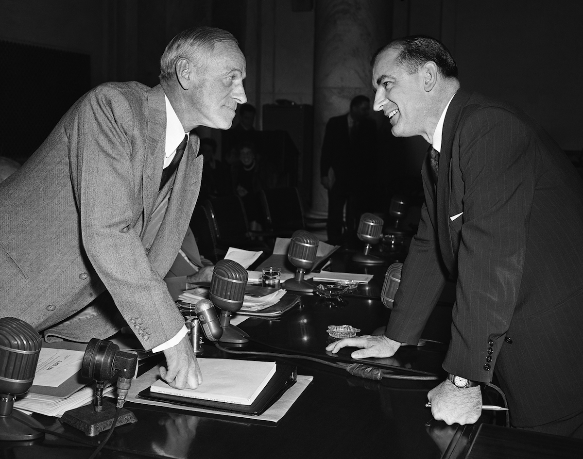 A (real) photograph of Sen. Joseph McCarthy (R-Wisc.), right, and Sen. Millard Tydings (D-Md.) in March of 1950.