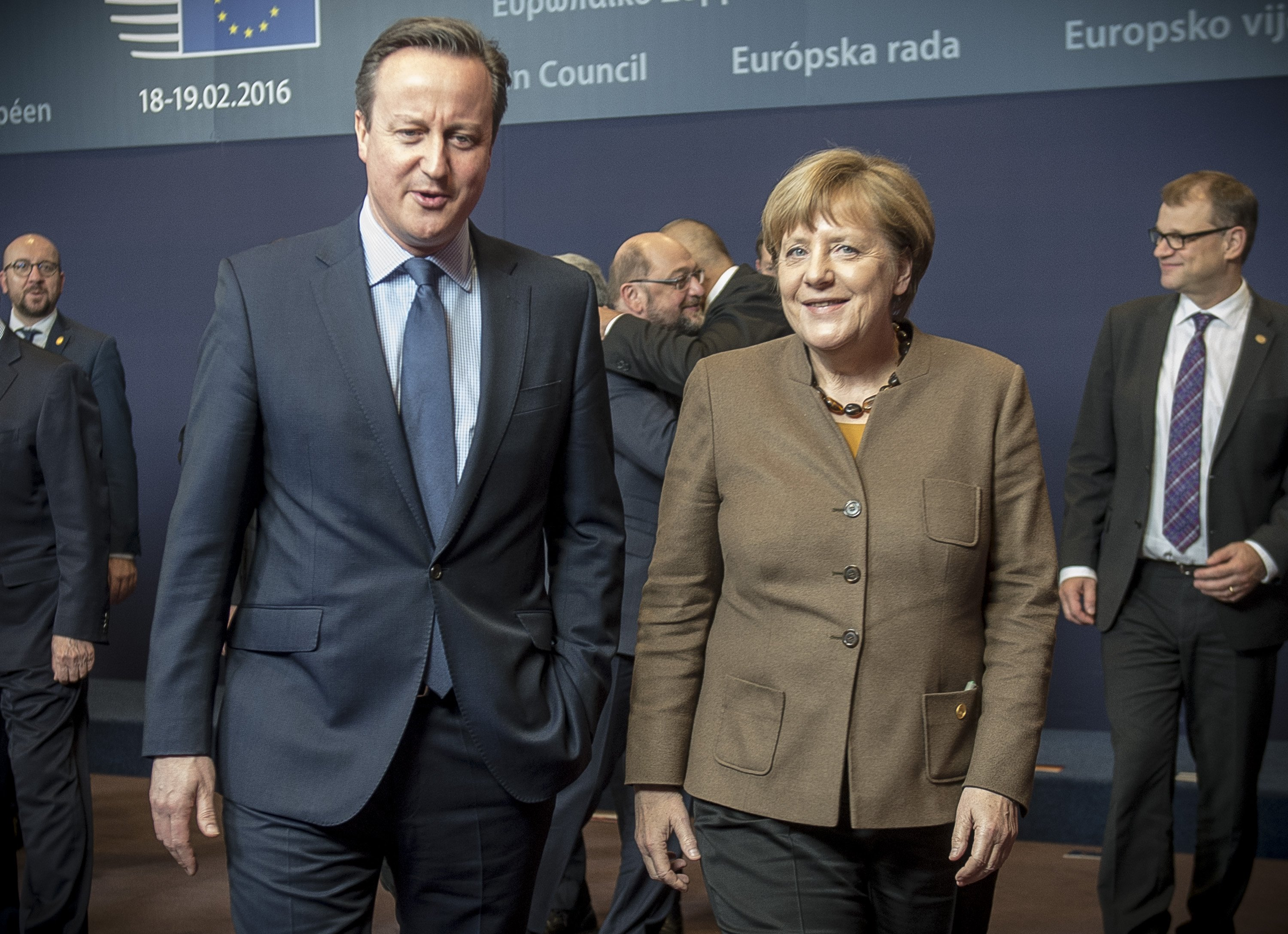 David Cameron and Angela Merkel during a EU Summit in Brussels, Belgium on Feb. 18, 2015.