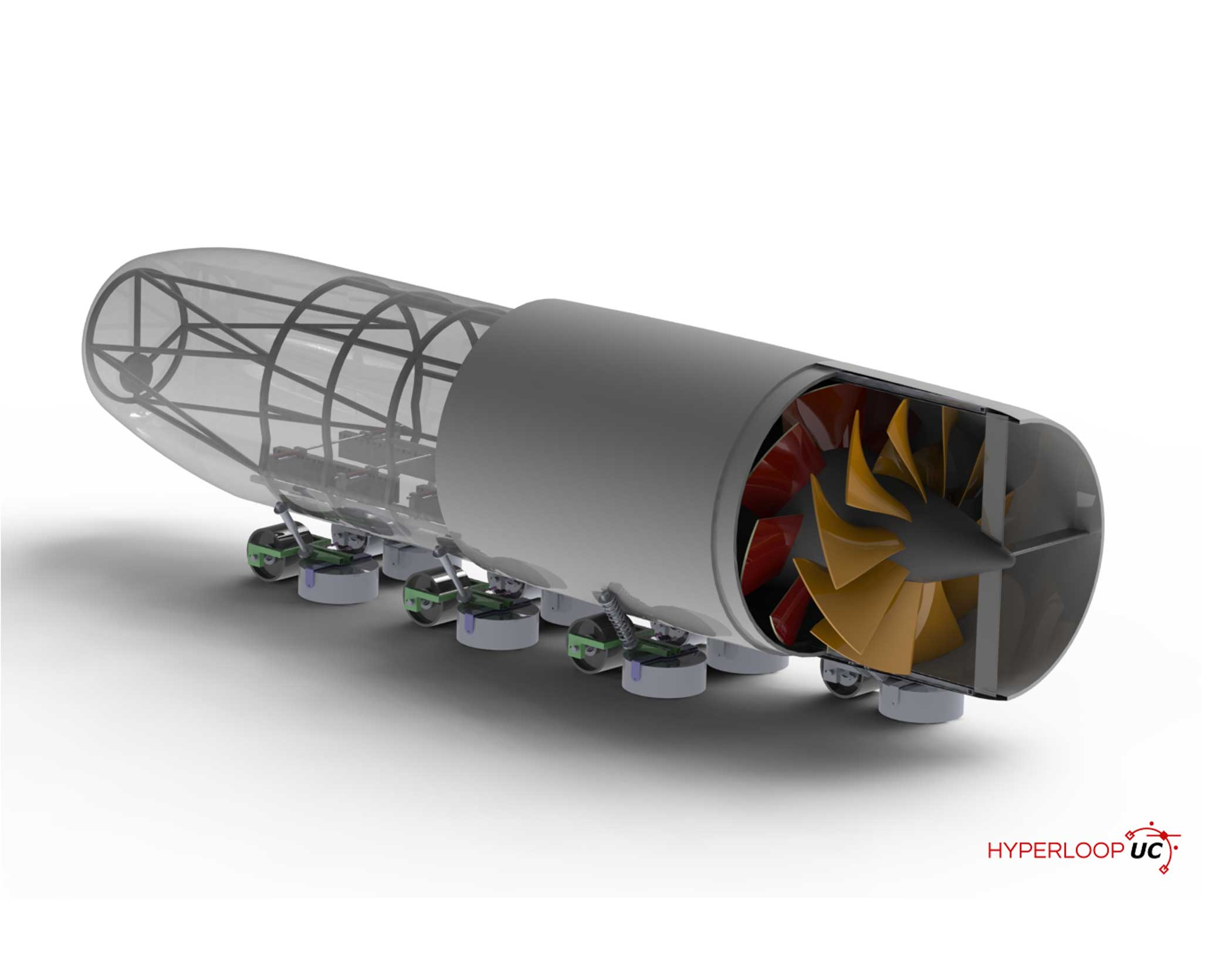 "The University of Cincinnati's pod is ""scalable, efficient and modular which employs counter-rotating fans for air bypass, dual fail-safe braking mechanisms and magnetic levitation."""