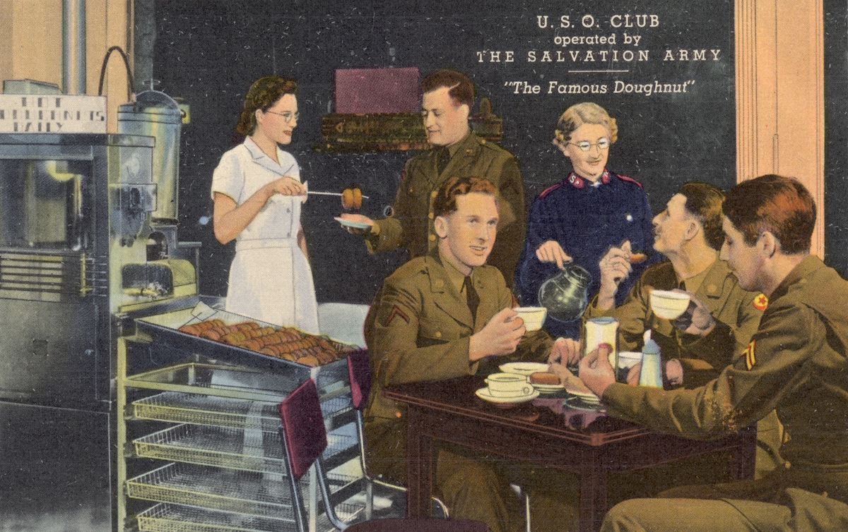 Postcard depicting officers at USO Club. ca. 1942,.