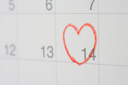 Calendar marked with a heart for Valentine's Day
