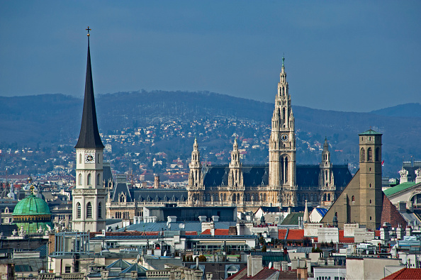 Panorama view over Vienna in 2015.