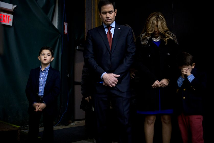 Republican presidential candidate, Marco Rubio, appeared at a GOP caucus location with his family on Feb. 1, 2016, in Clive, Iowa.