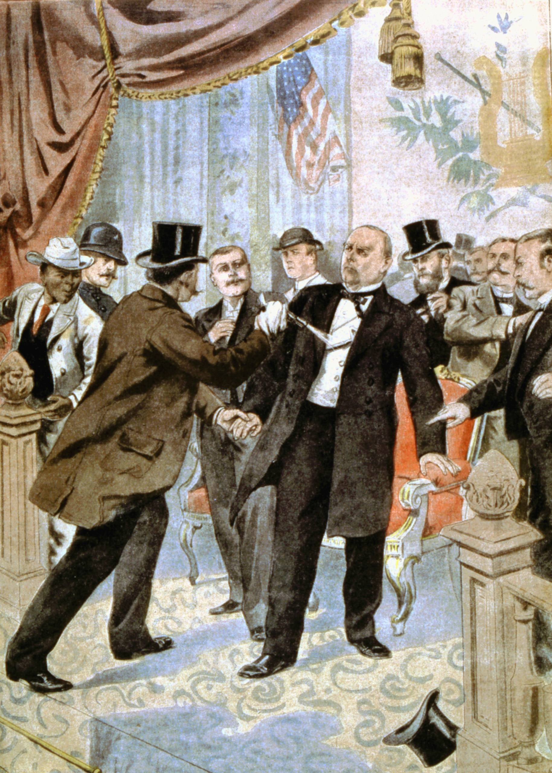 Assassination of William McKinley, 25th president of the USA, 1901.