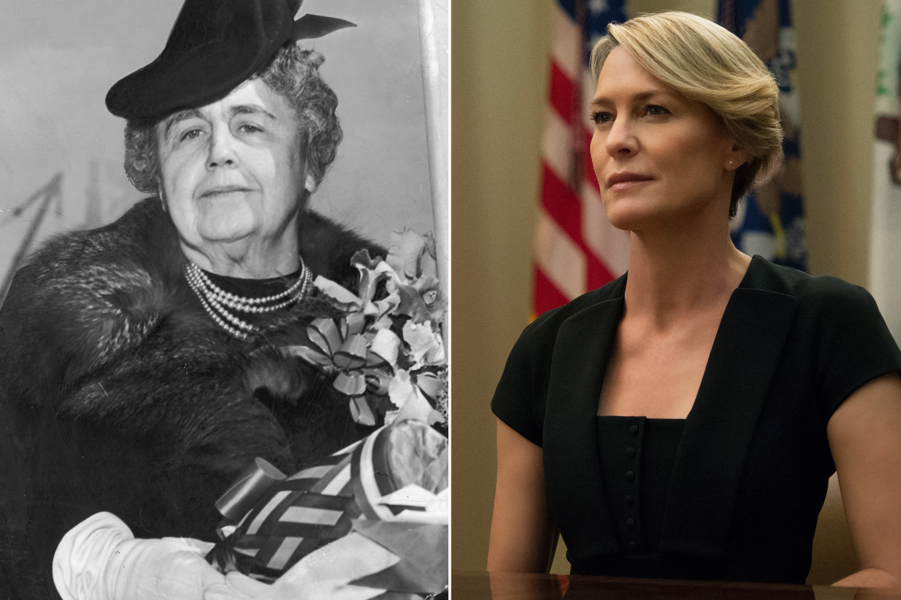From left: First Lady Edith Wilson and Robin Wright as Claire Underwood in House of Cards.