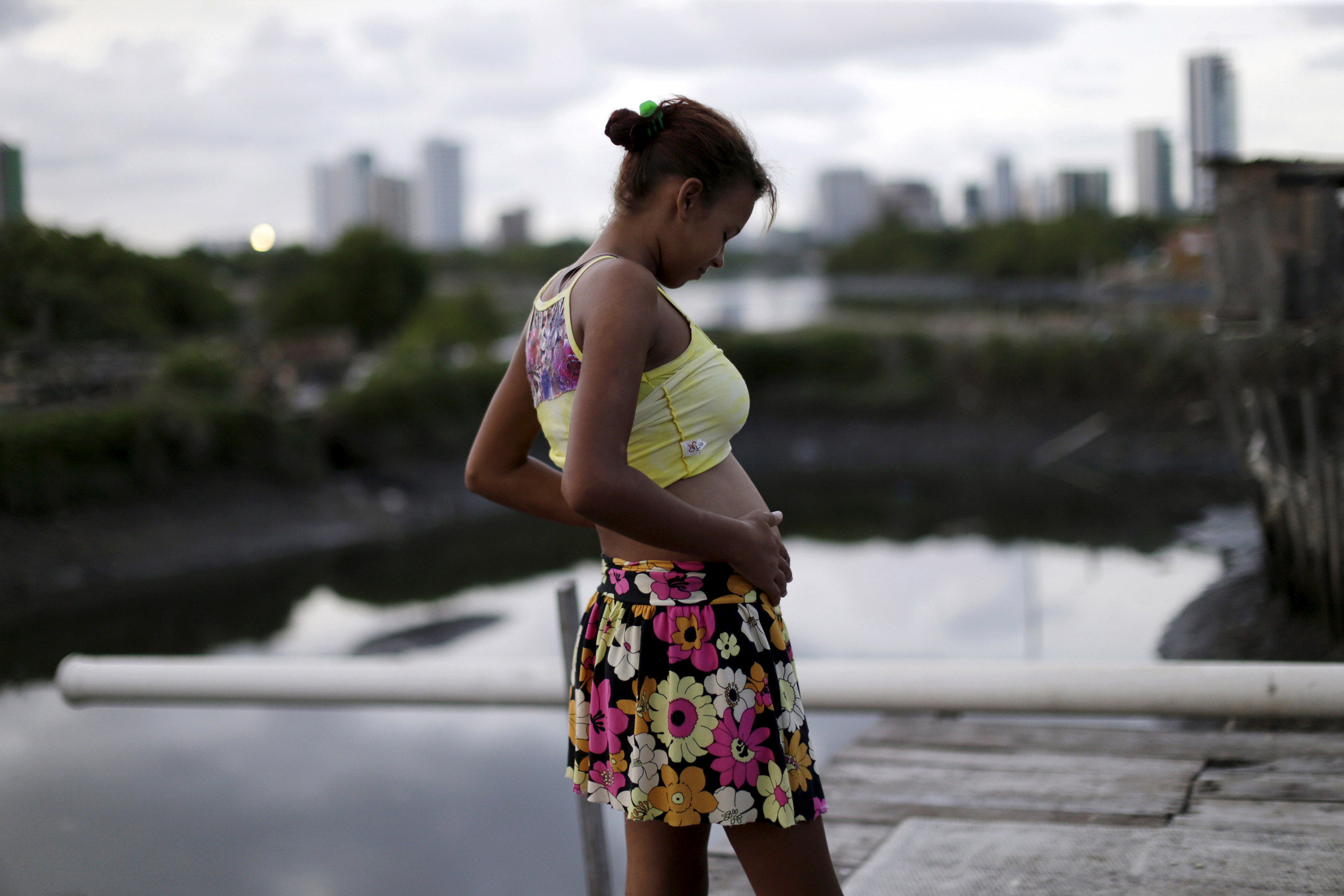 Eritania Maria, who is six months pregnant, is seen in front of her house at a slum in Recife, Brazil, on Feb. 2, 2016.