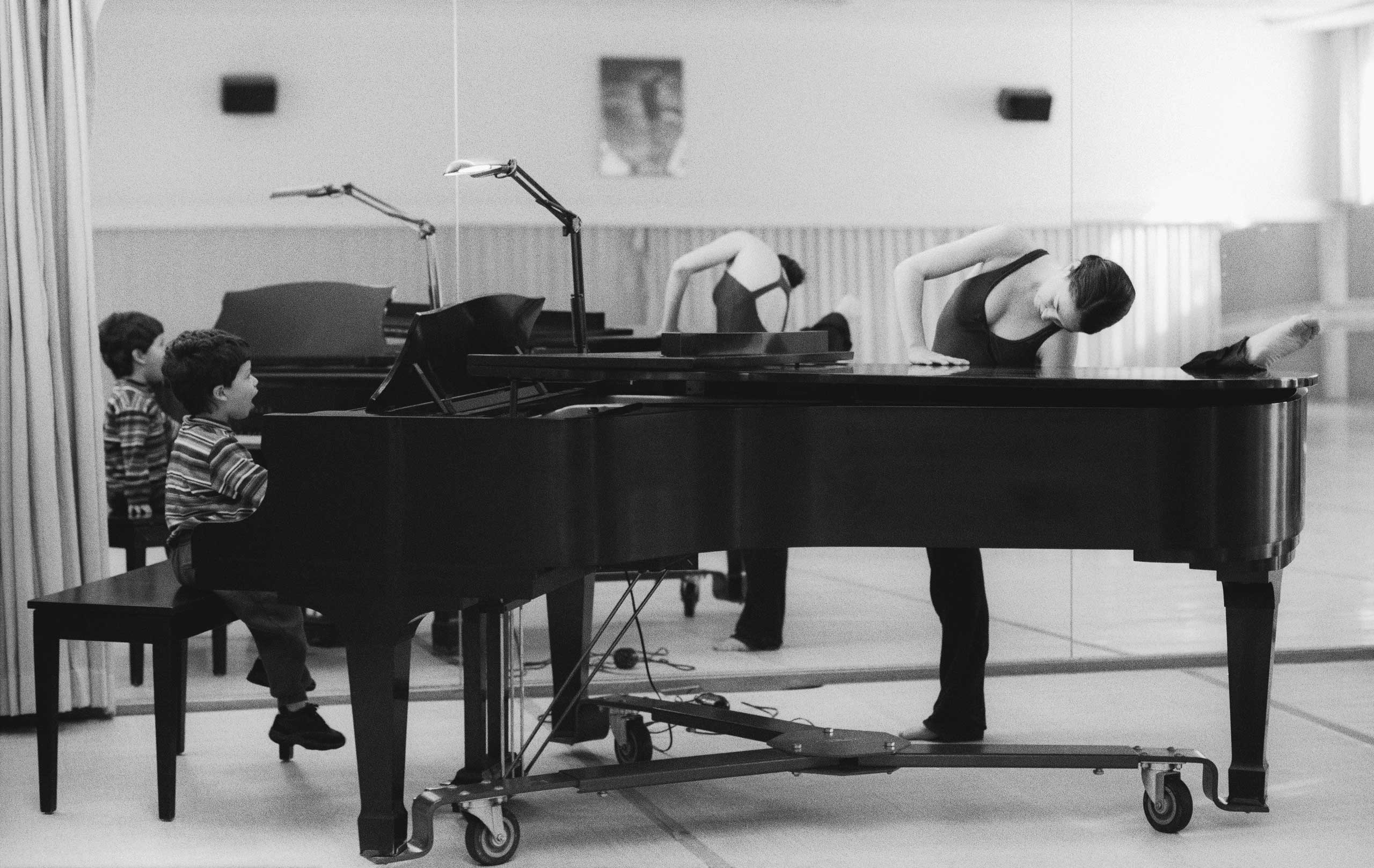 Kai plays the piano with his mother, Kristin, in a rehearsal room at San Francisco Ballet. He knew Chopin from Schoenberg by the time he was five; before baseball, it seemed as though he'd become a composer one day. 2000. Balancing Acts: Three Prima Ballerinas Becoming Mothers.