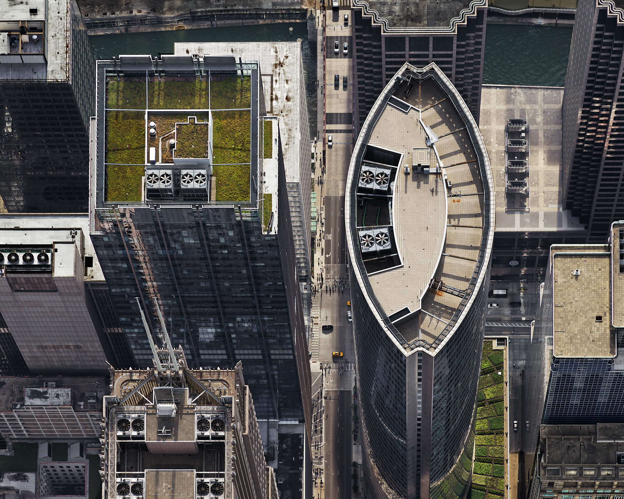 111 South Wacker Drive (from above, looking West). Chicago, IL, July 2013. From the series Rooftop.